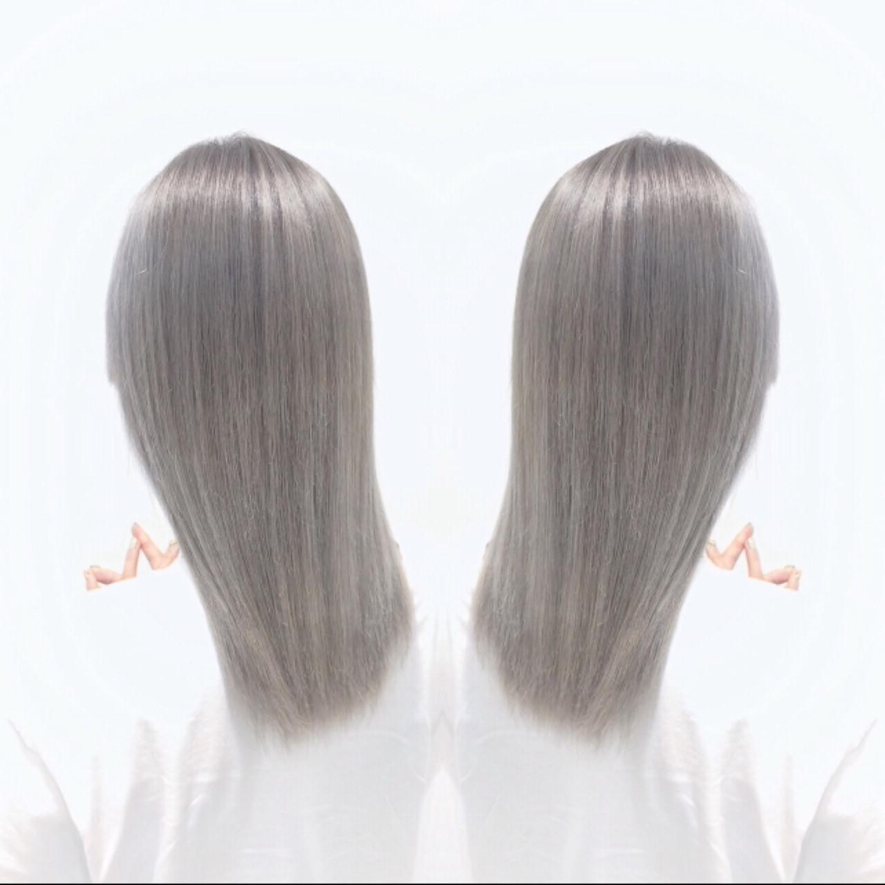 ホワイトアッシュ セミロング ホワイト グレージュ ヘアスタイルや髪型の写真・画像 | 秋田進吾 / Ash川崎店