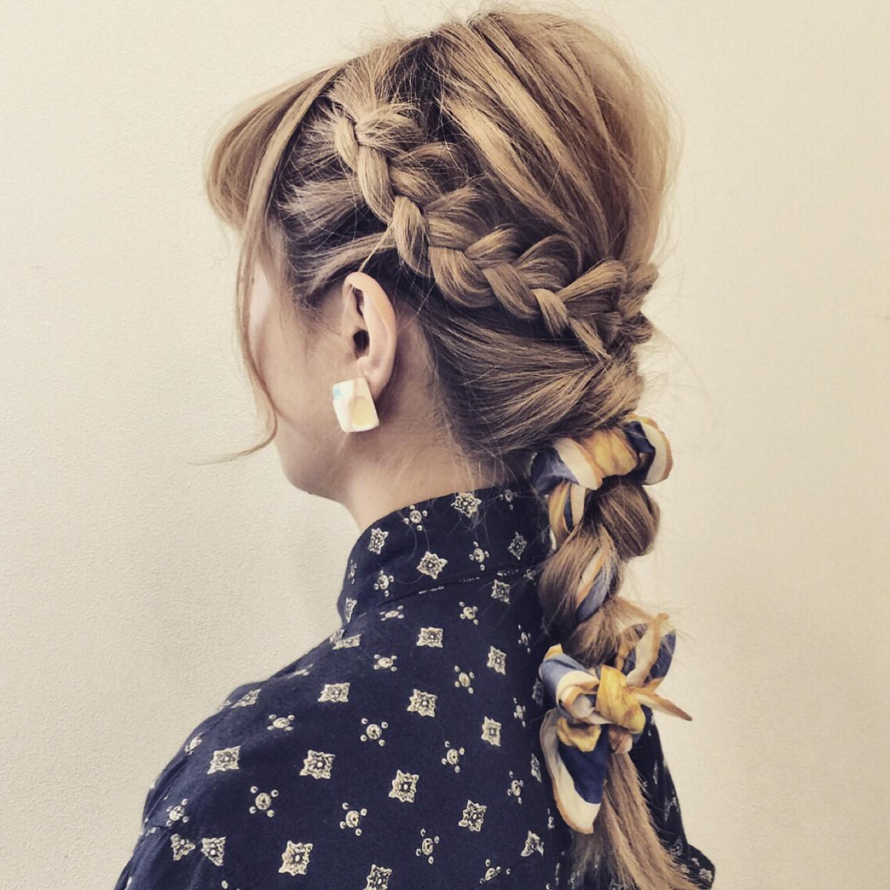 簡単ヘアアレンジ ショート セミロング ヘアアレンジ ヘアスタイルや髪型の写真・画像