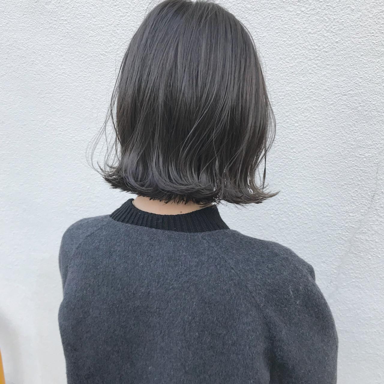 切りっぱなし アンニュイ 外ハネ ロブ ヘアスタイルや髪型の写真・画像