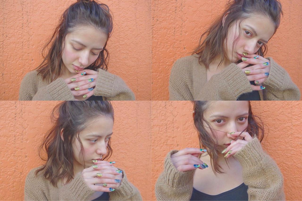 ハーフアップ 大人女子 ミディアム お団子 ヘアスタイルや髪型の写真・画像