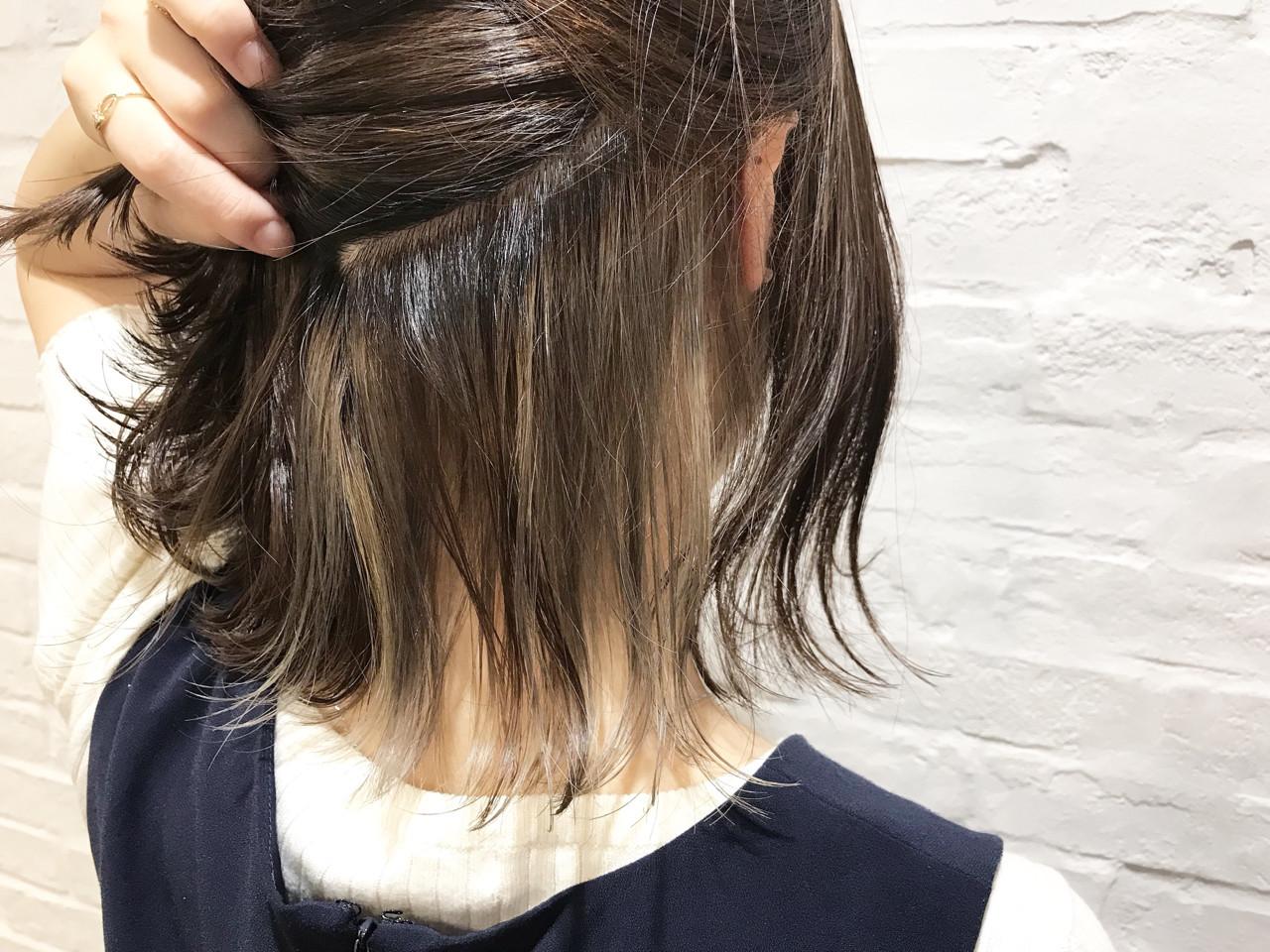 ミルクティーベージュ インナーカラー ナチュラル ミルクティー ヘアスタイルや髪型の写真・画像 | ABBEY 迫田 紘史 / ABBEY