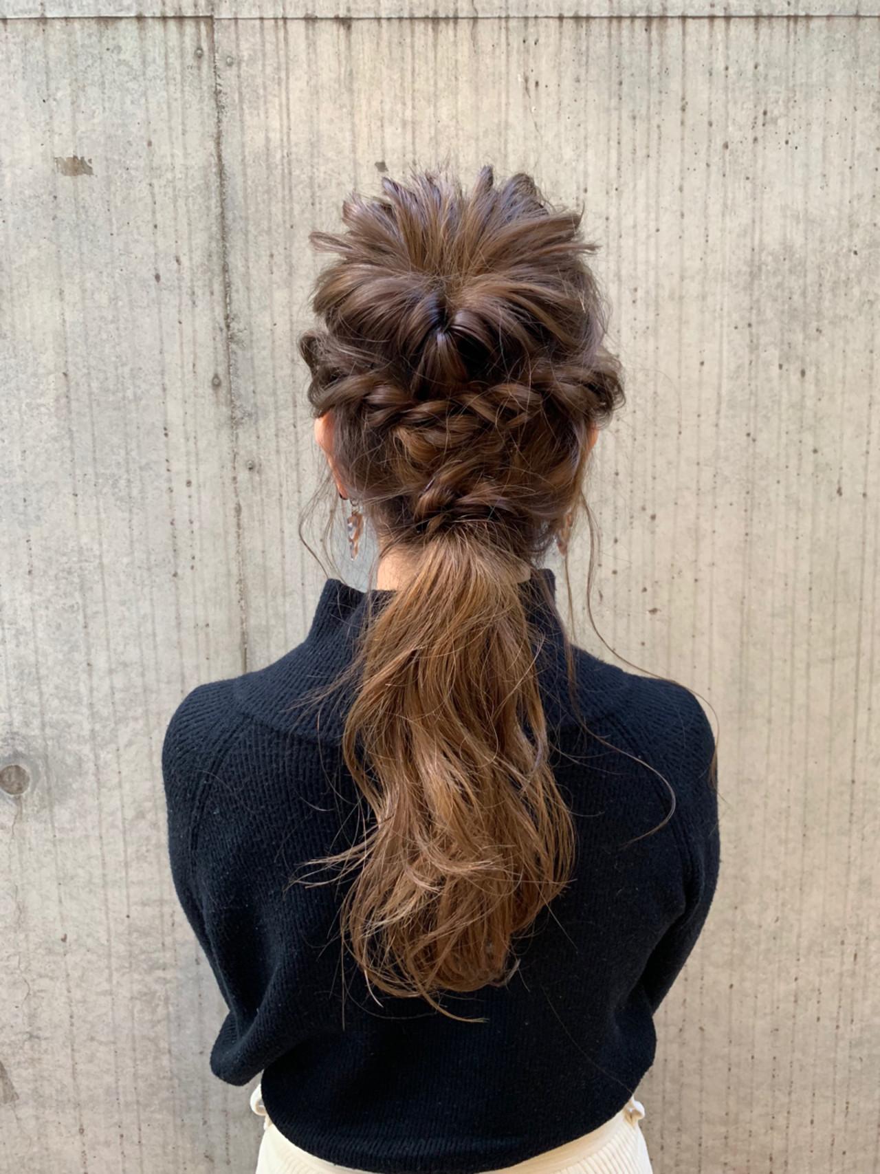 ロング 編み込み デート 結婚式 ヘアスタイルや髪型の写真・画像