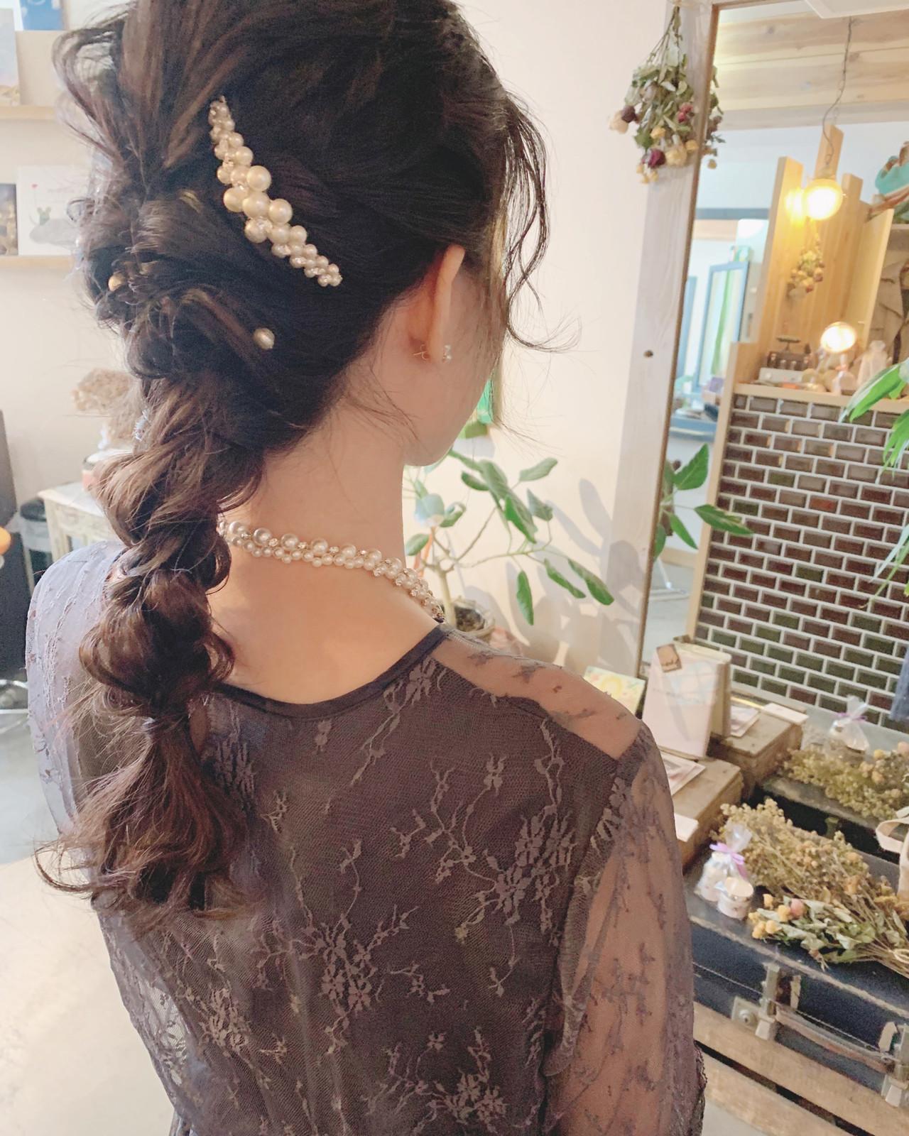 結婚式 簡単ヘアアレンジ ロング デート ヘアスタイルや髪型の写真・画像