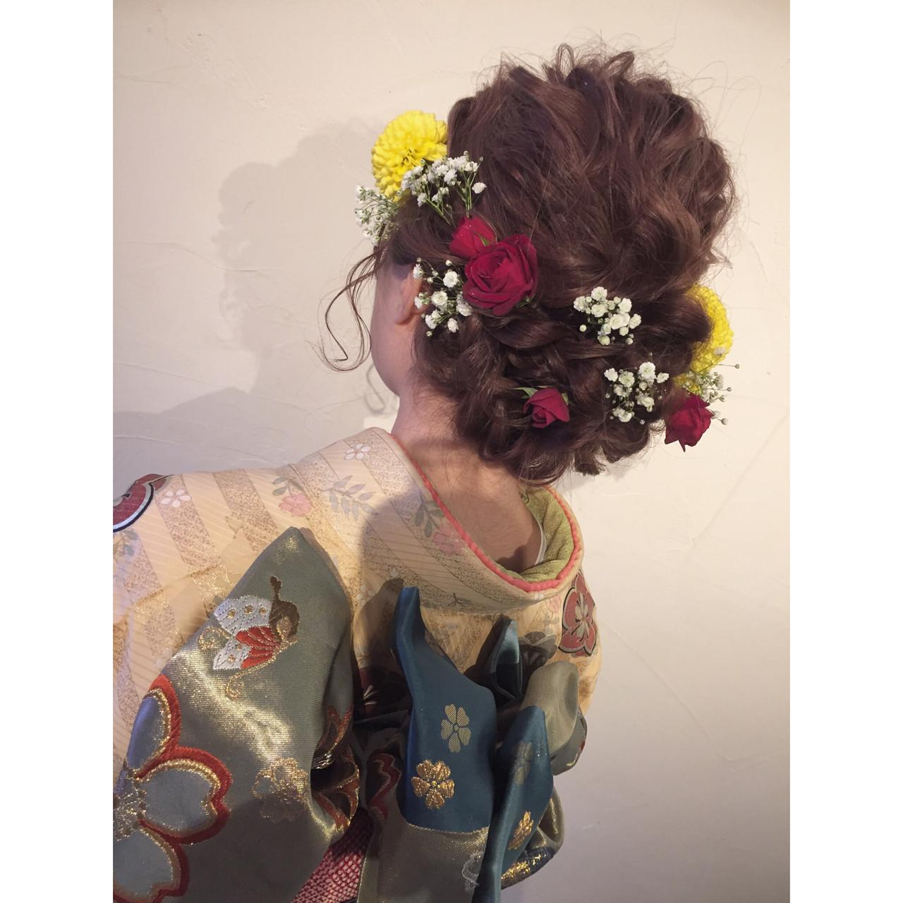 ヘアアレンジ まとめ髪 花 編み込み ヘアスタイルや髪型の写真・画像