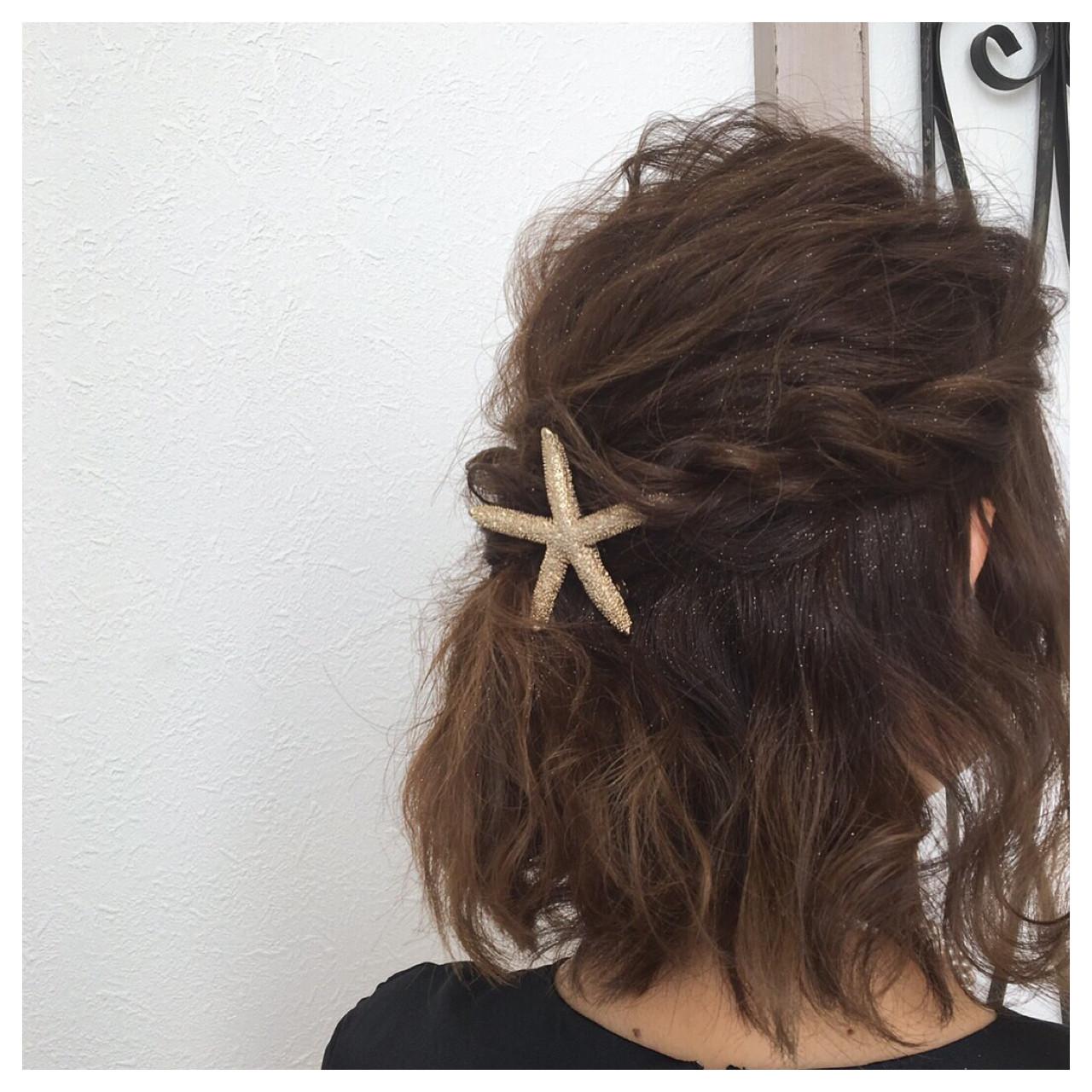 簡単ヘアアレンジ ボブ ハーフアップ ゆるふわ ヘアスタイルや髪型の写真・画像   尾関 里紗 / TABOO