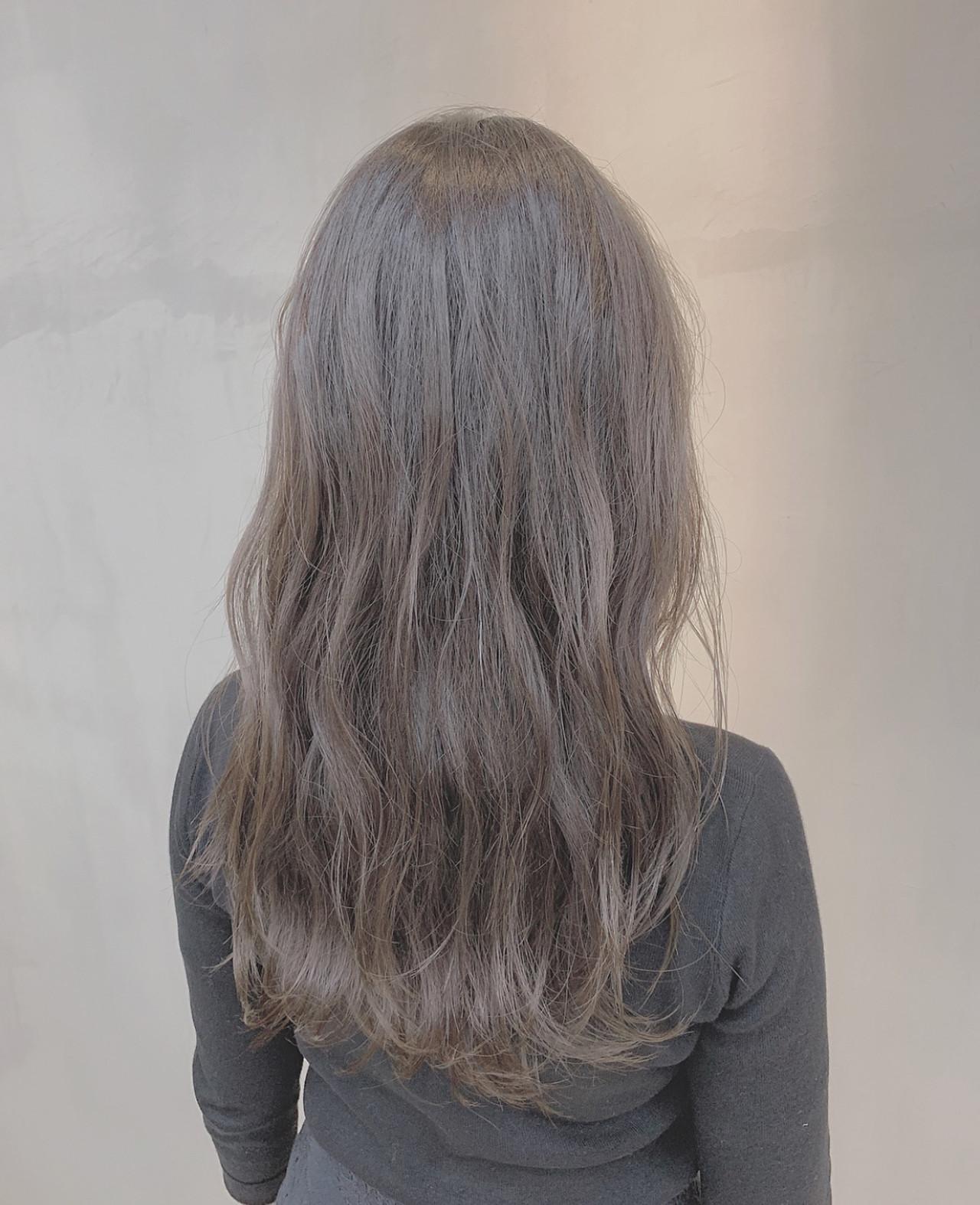 透明感カラー グレージュ ナチュラル セミロング ヘアスタイルや髪型の写真・画像