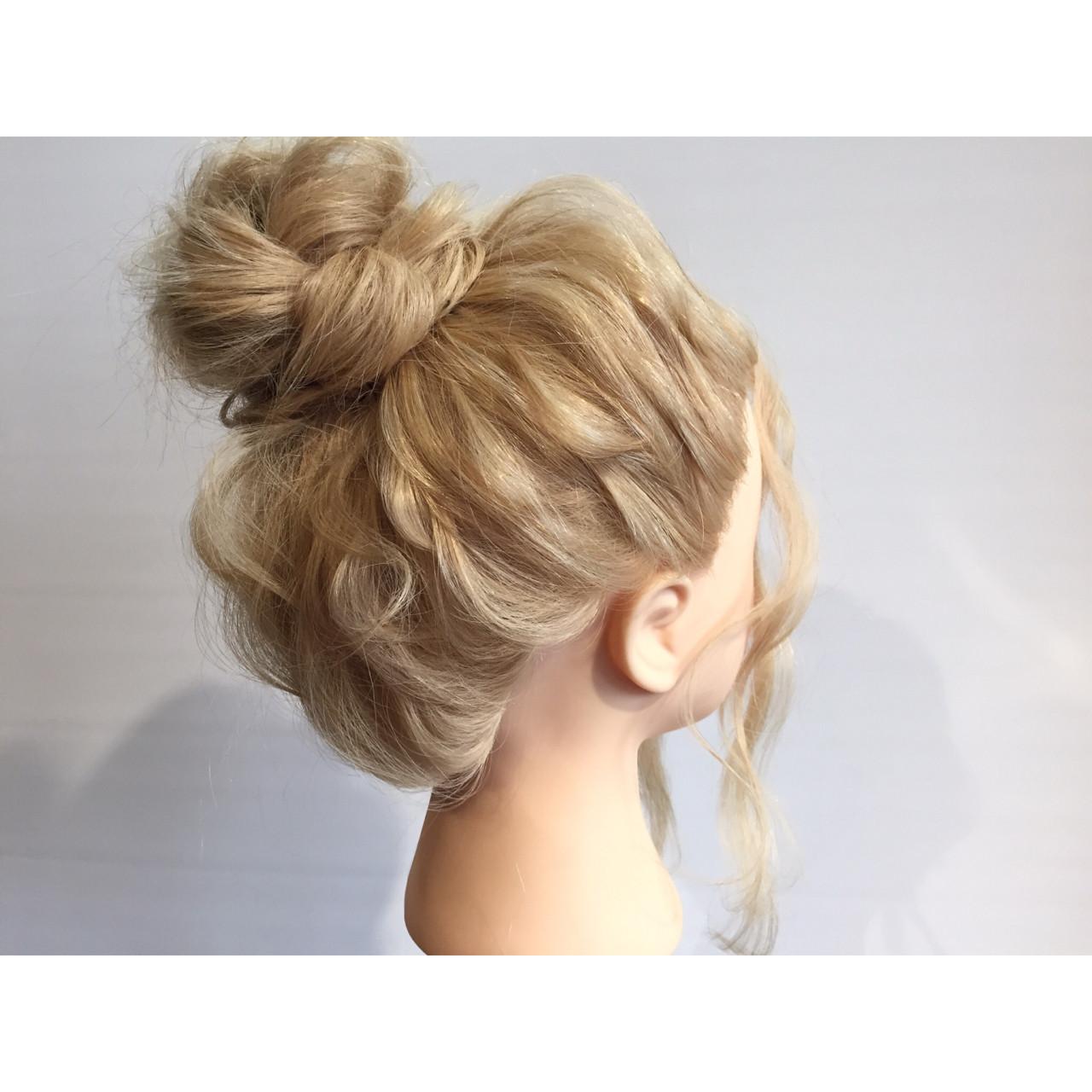 ヘアアレンジ 簡単ヘアアレンジ 三つ編み セミロング ヘアスタイルや髪型の写真・画像