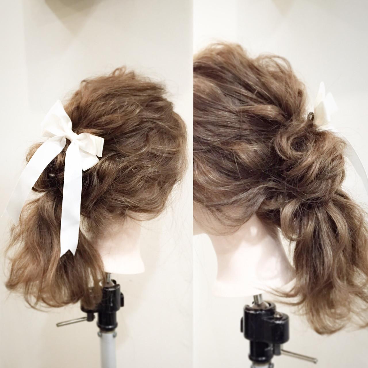 セミロング ポニーテール 大人かわいい ヘアアレンジ ヘアスタイルや髪型の写真・画像