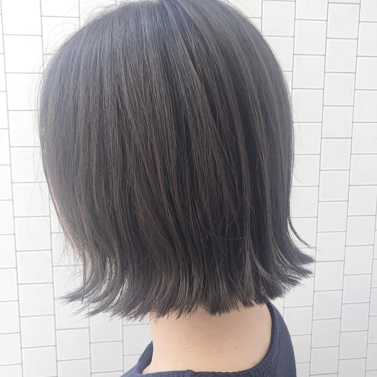 透明感カラー ボブ モード イルミナカラー ヘアスタイルや髪型の写真・画像