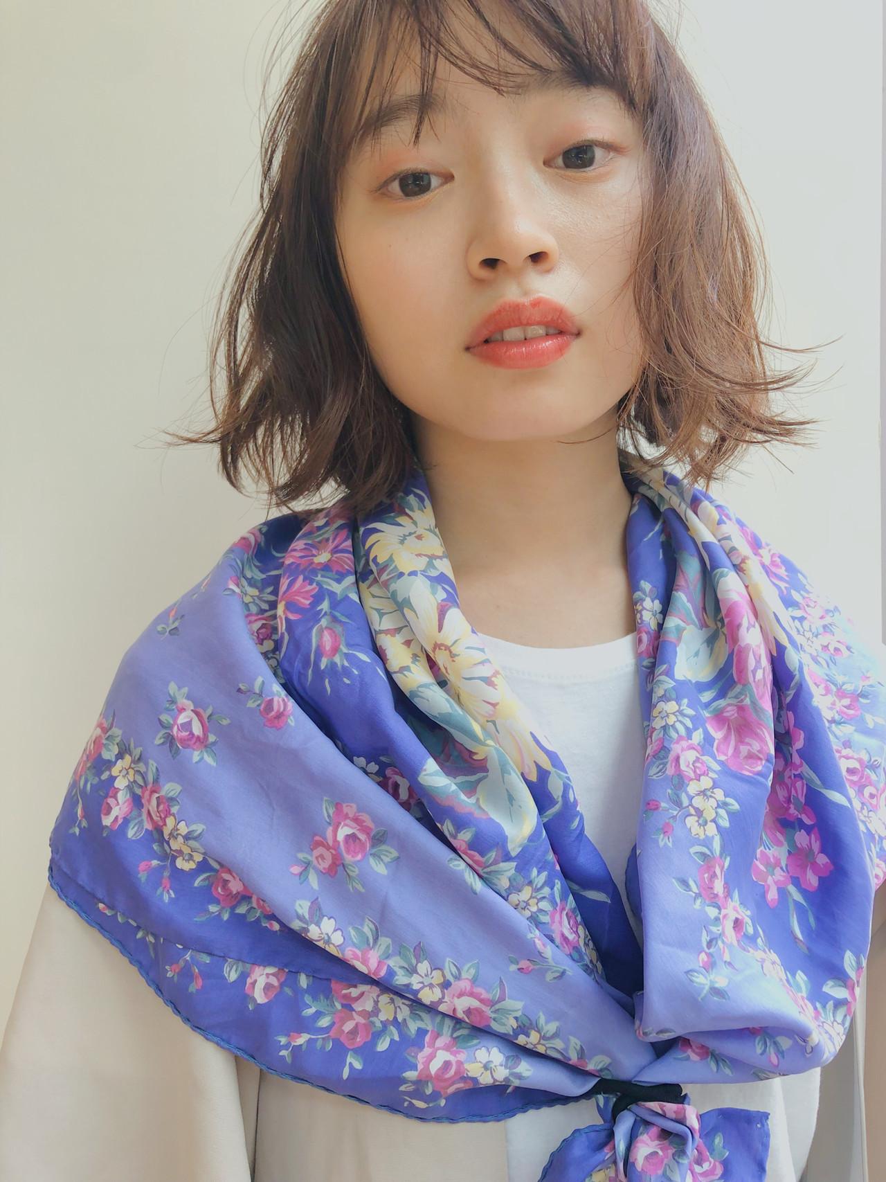 透明感カラー シースルーバング ナチュラル パーマ ヘアスタイルや髪型の写真・画像 | drive for garden 森紫織 / drive for garden