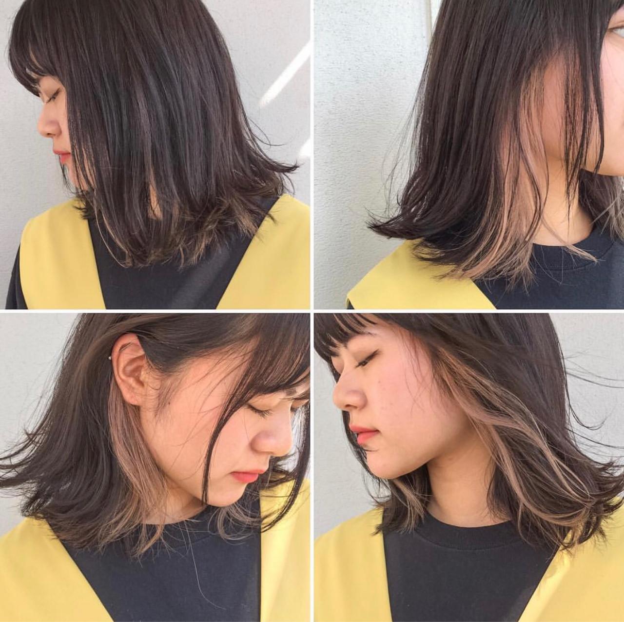 ロブ フリンジバング ハイライト インナーカラー ヘアスタイルや髪型の写真・画像