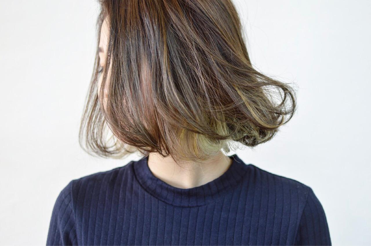上品 エレガント ハイライト インナーカラー ヘアスタイルや髪型の写真・画像