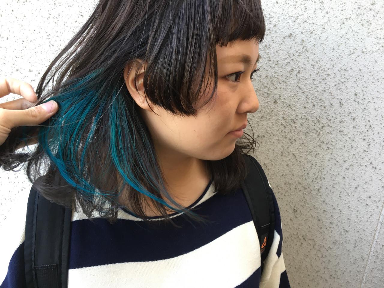 ミディアム ストリート 黒髪 暗髪 ヘアスタイルや髪型の写真・画像