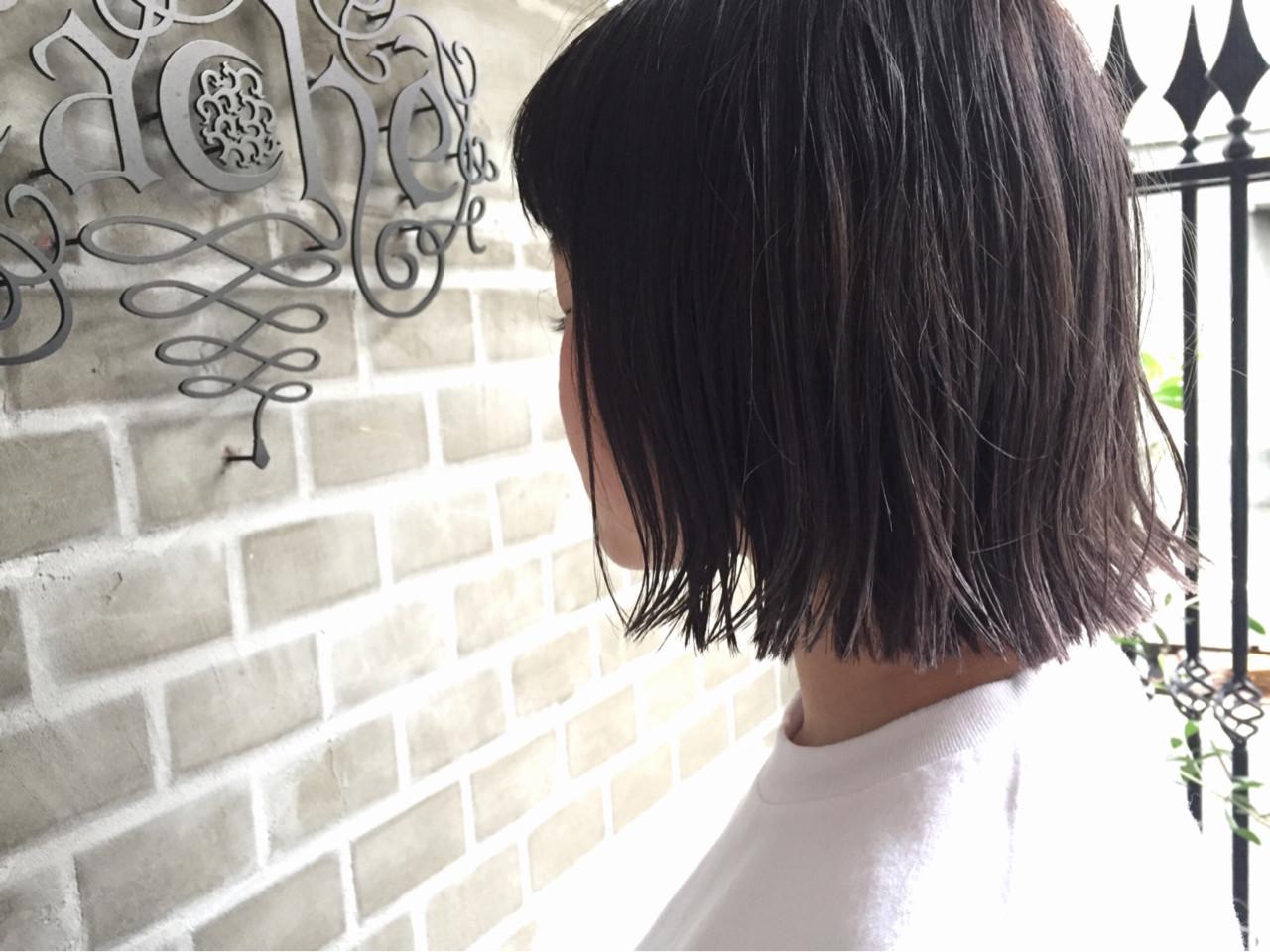 暗髪 外ハネ グラデーションカラー ボブ ヘアスタイルや髪型の写真・画像