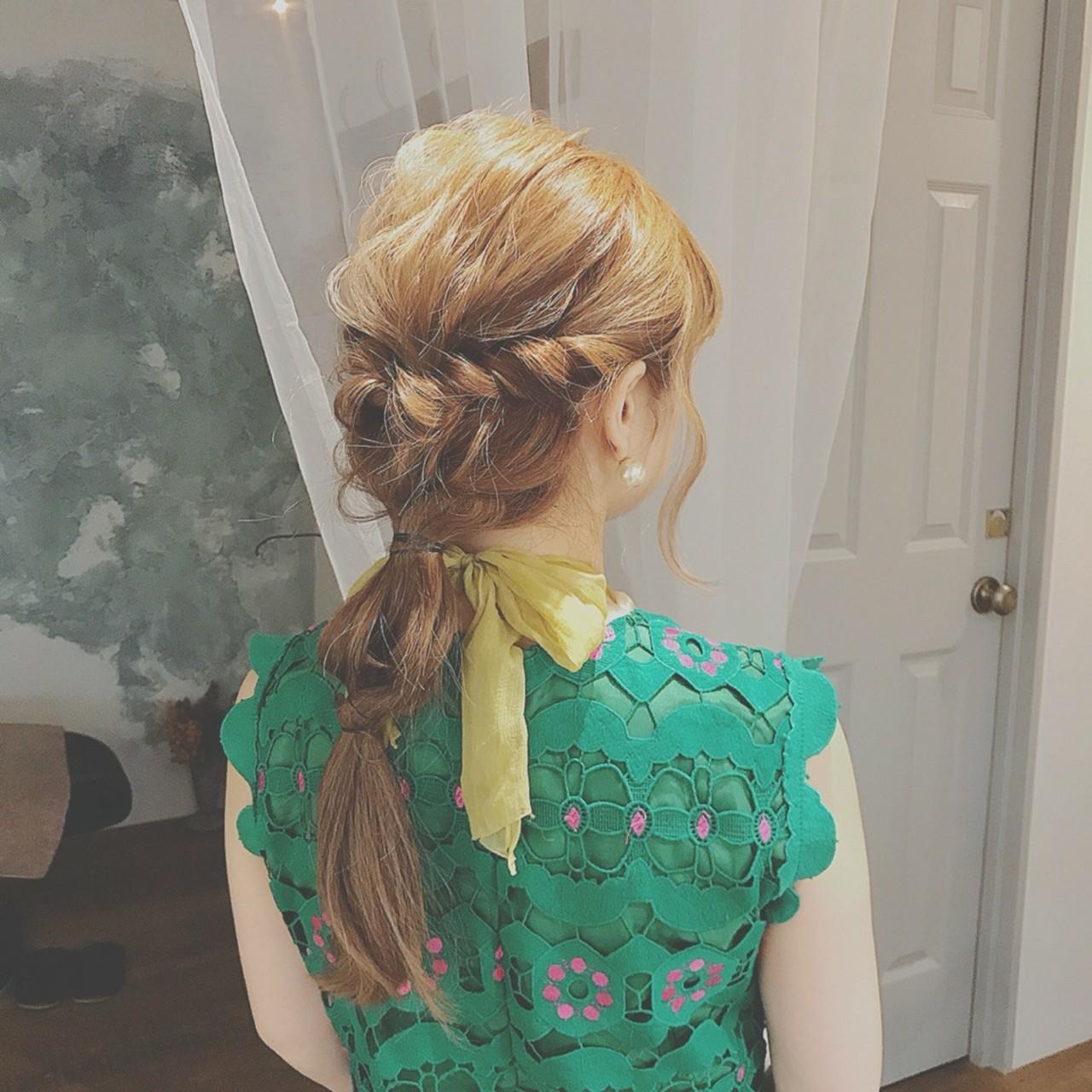 ヘアアレンジ ロング 結婚式 デート ヘアスタイルや髪型の写真・画像 | 浦川由起江 / nanon