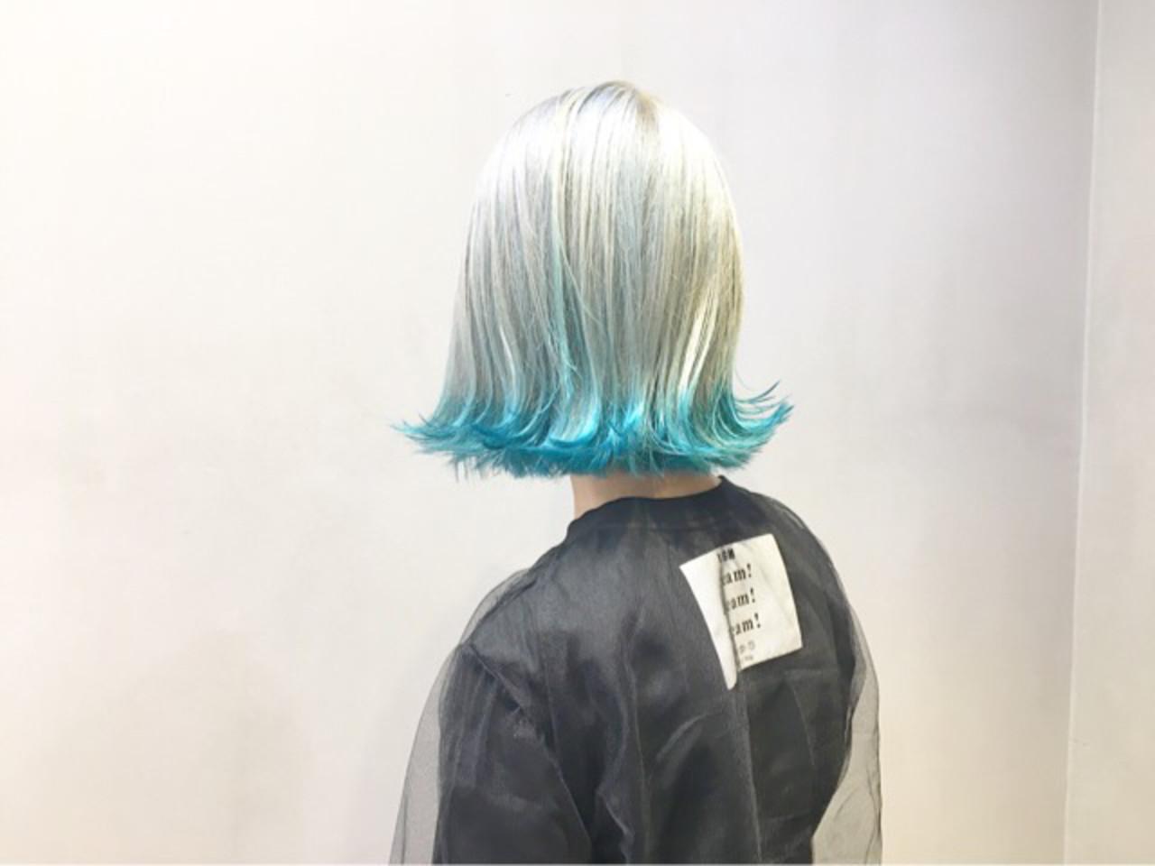 ターコイズブルー ストリート ボブ ホワイトアッシュ ヘアスタイルや髪型の写真・画像 | COM PASS タイチ / COM PASS
