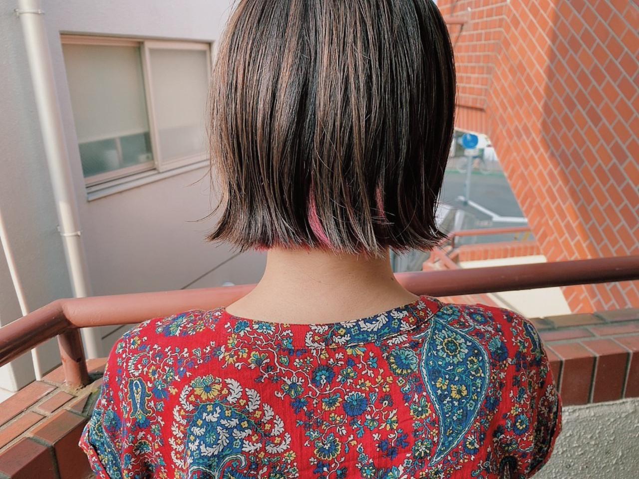 インナーカラー 透け感アッシュ ボブ 透明感カラー ヘアスタイルや髪型の写真・画像