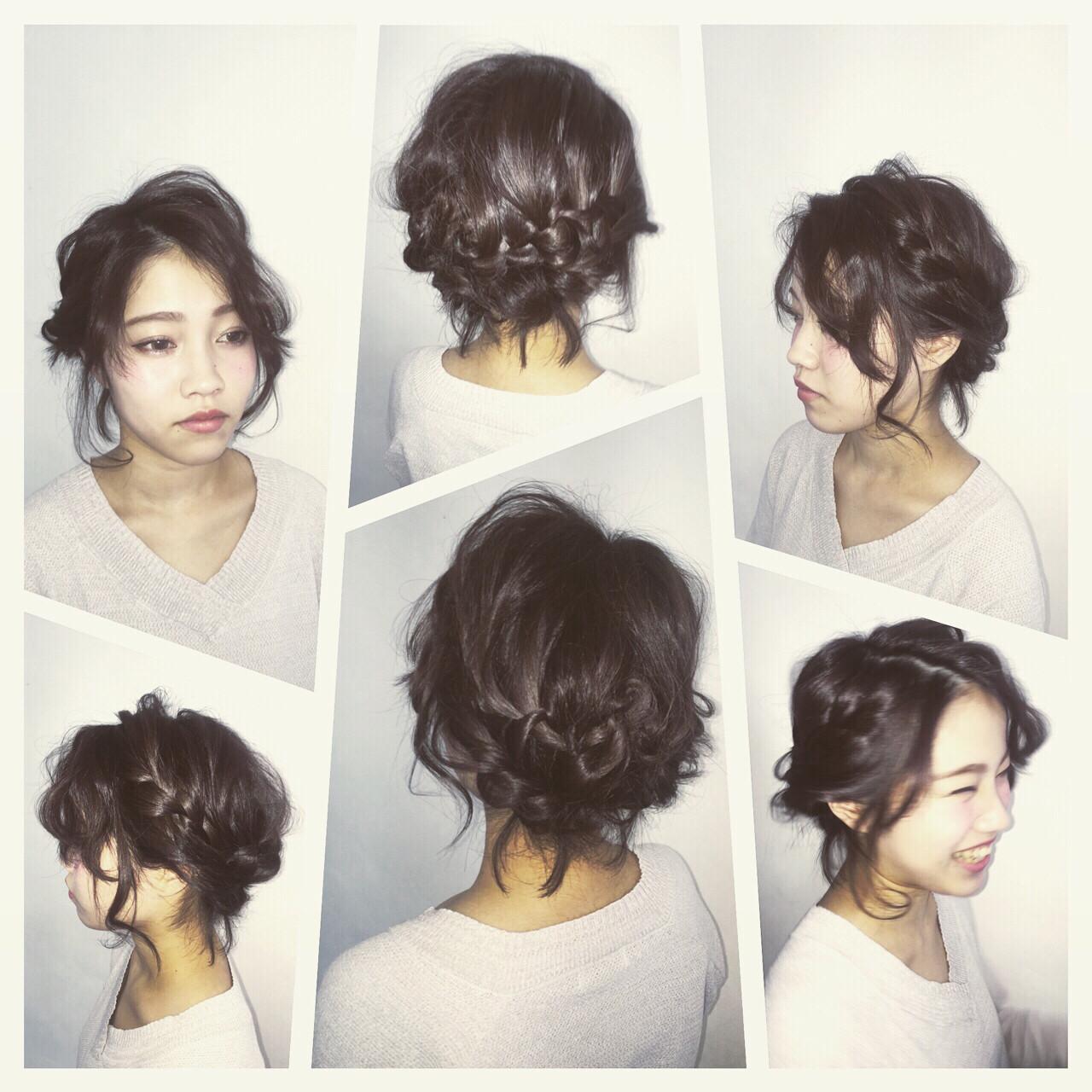 波ウェーブ 結婚式 ヘアアレンジ ウォーターフォール ヘアスタイルや髪型の写真・画像