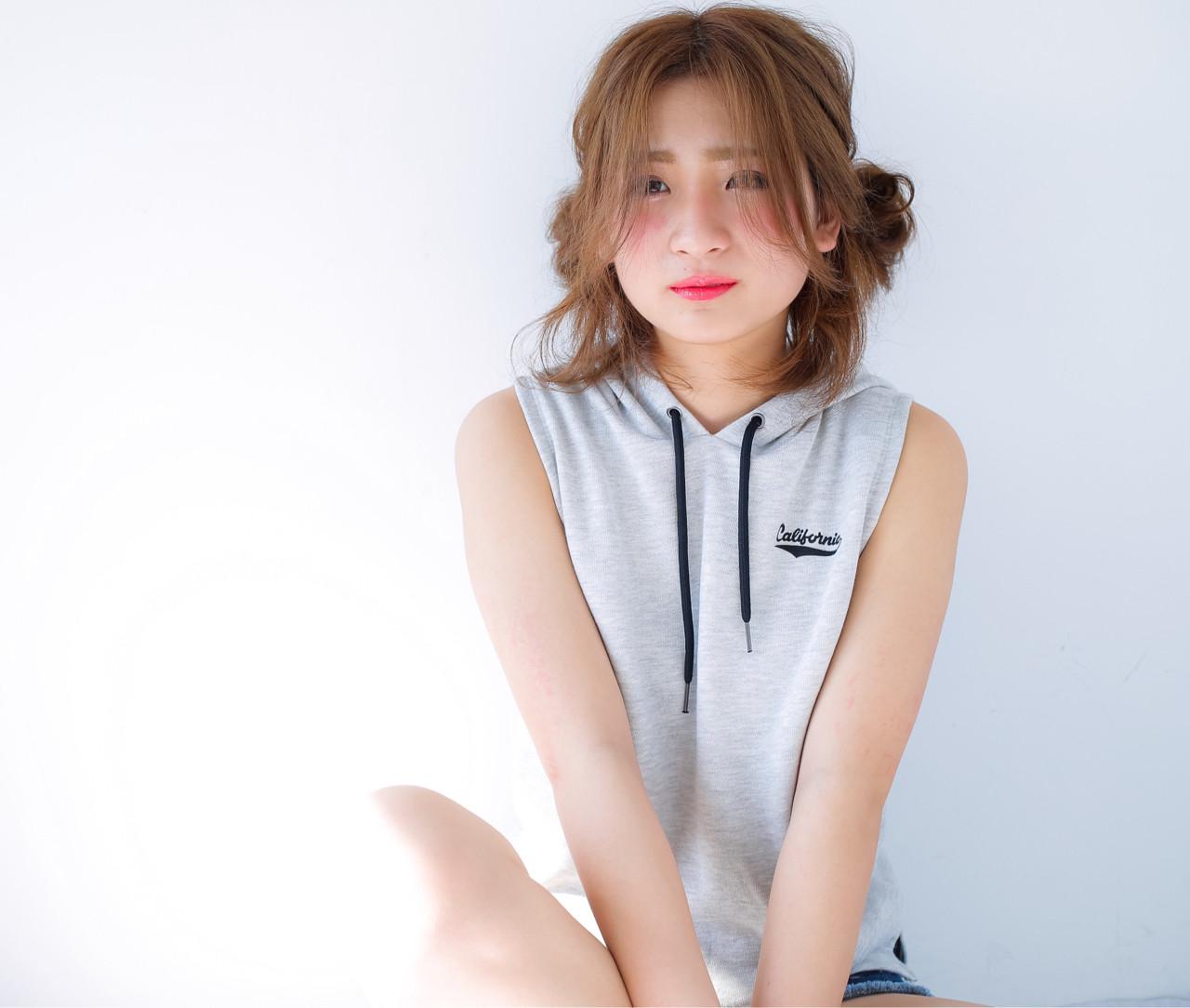 ミディアム ショート ピュア ヘアアレンジ ヘアスタイルや髪型の写真・画像