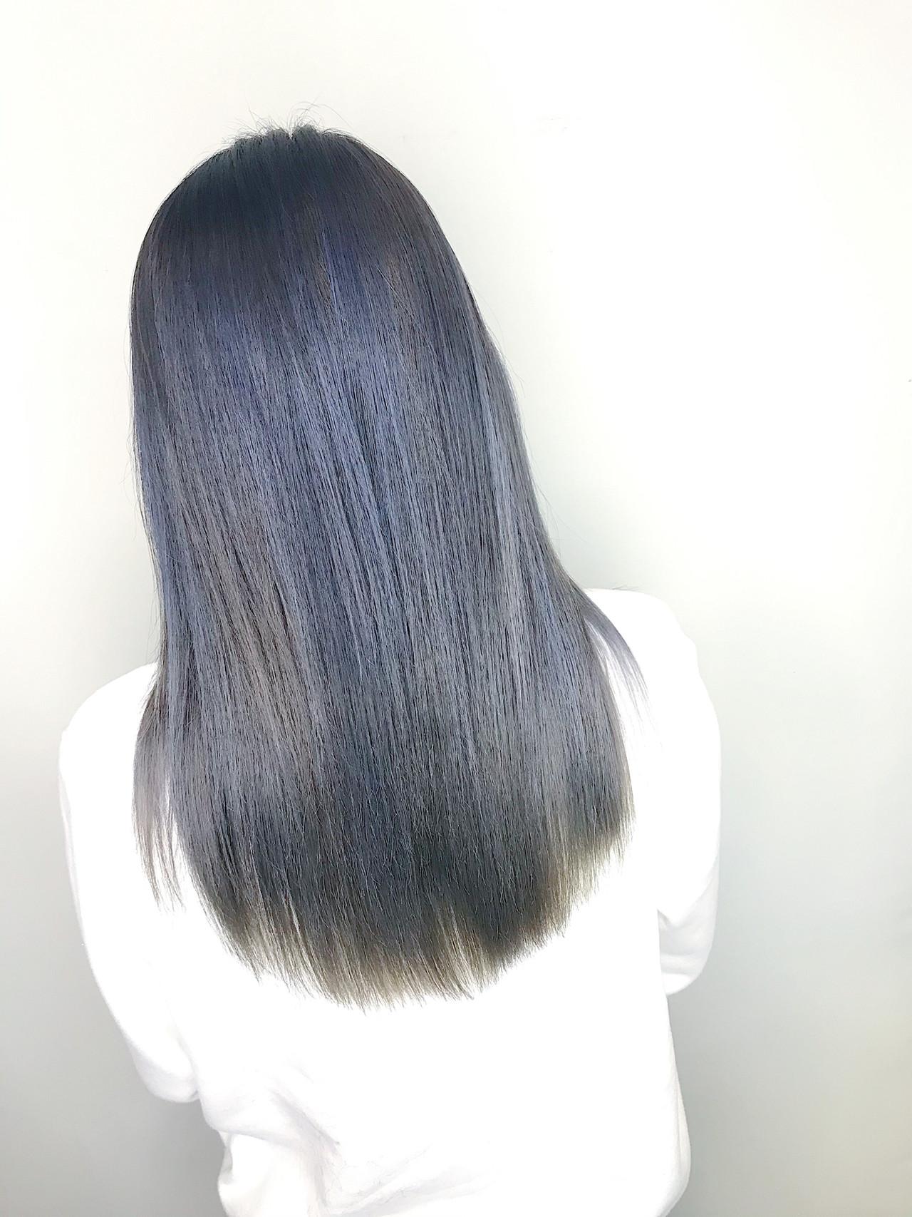 セミロング ナチュラル ネイビーブルー ブルー ヘアスタイルや髪型の写真・画像   内田 一也 / hair/nail space a:le