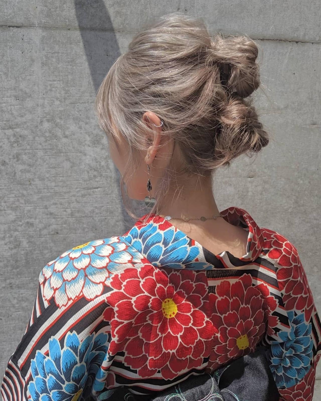 浴衣ヘア ヘアアレンジ ミディアム ツインお団子 ヘアスタイルや髪型の写真・画像