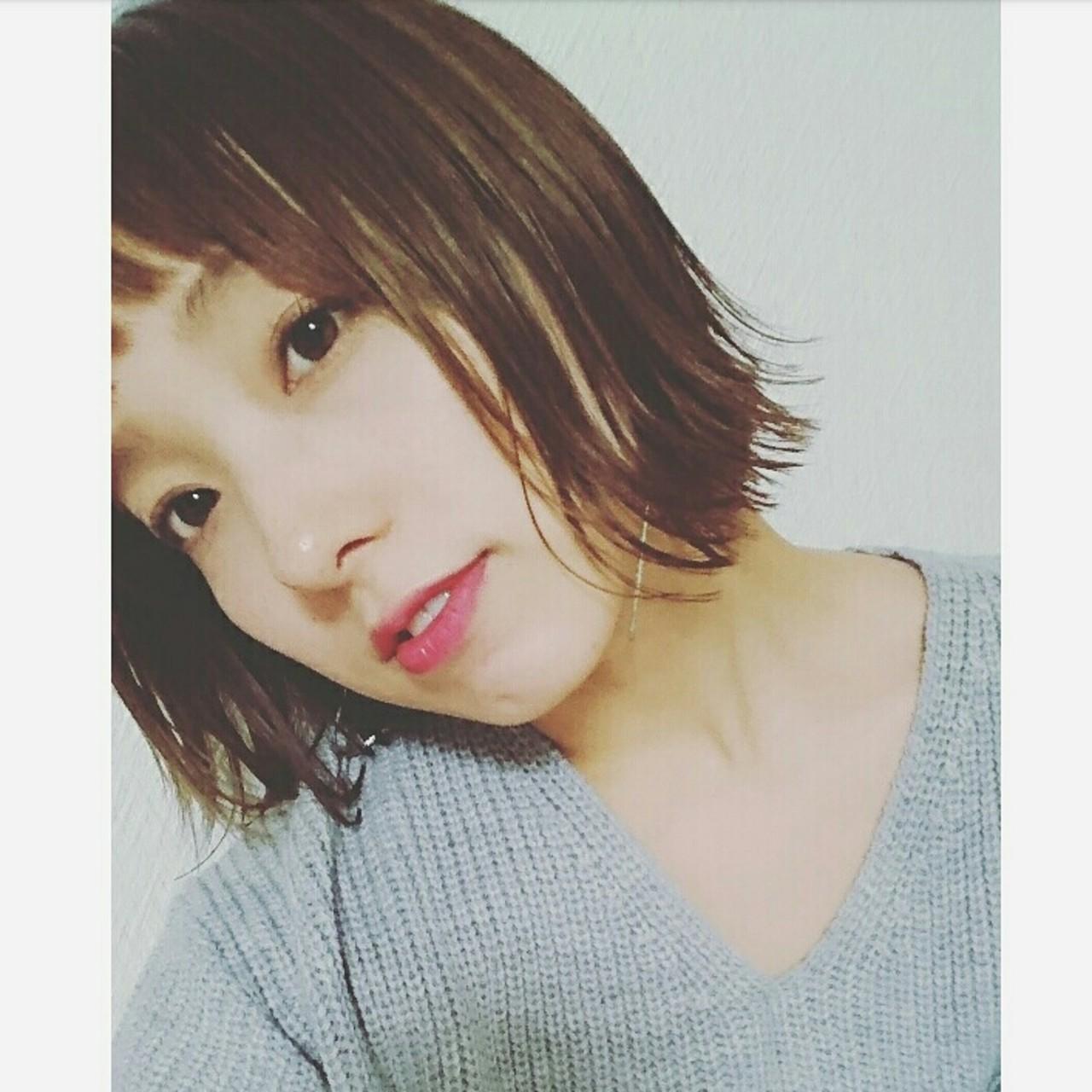 切りっぱなし ナチュラル 色気 オン眉 ヘアスタイルや髪型の写真・画像 | asuka /