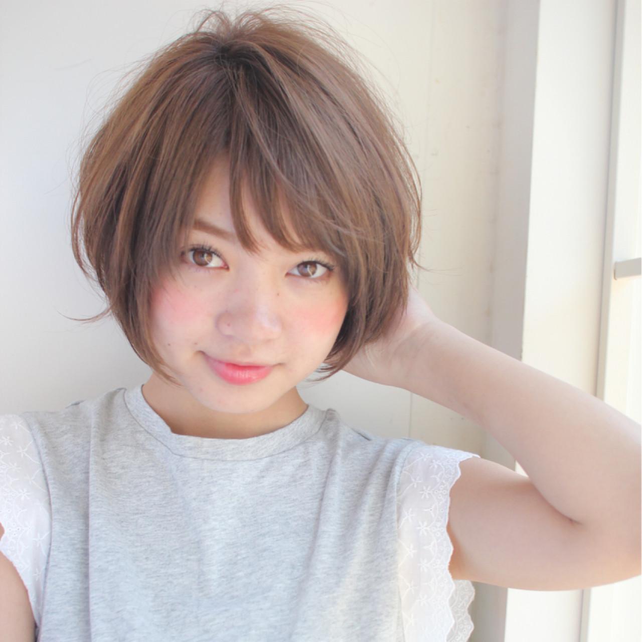 斜め前髪 色気 ショート 女子会 ヘアスタイルや髪型の写真・画像
