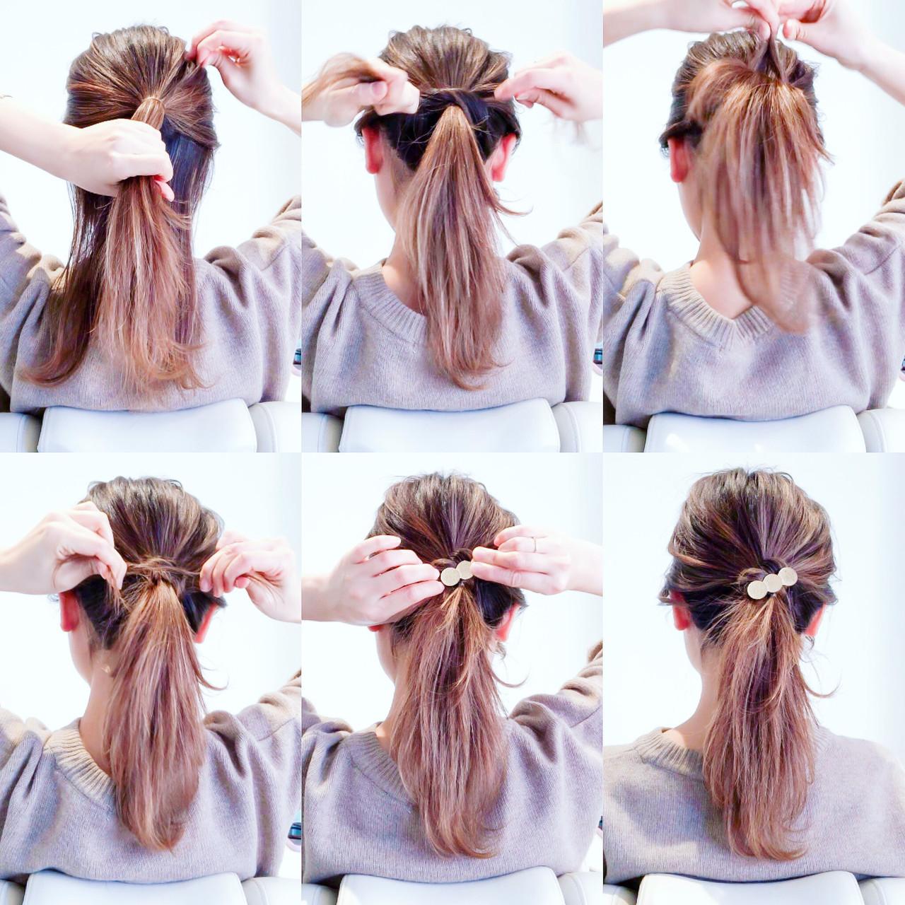 ロング オフィス ポニーテール 簡単ヘアアレンジ ヘアスタイルや髪型の写真・画像