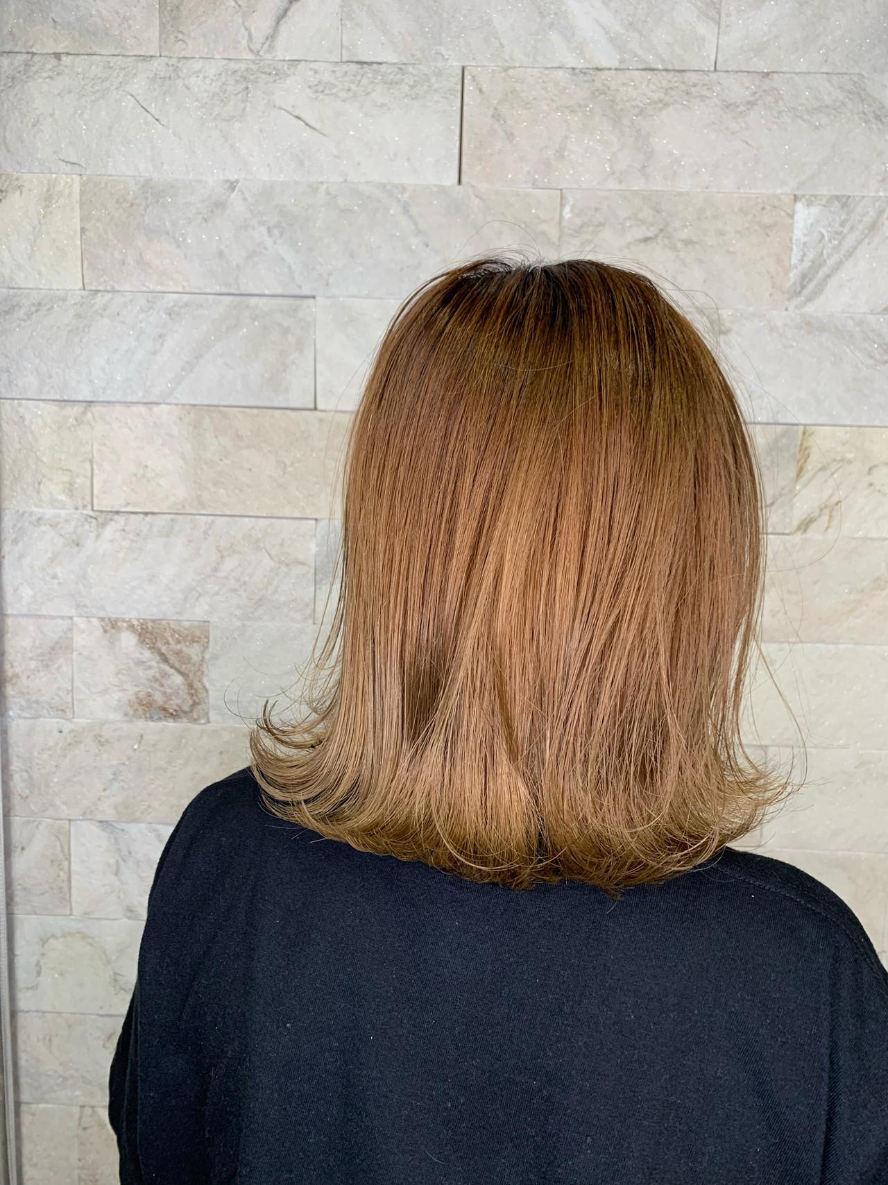 外人ヘア ナチュラル ミディアム 外ハネボブ ヘアスタイルや髪型の写真・画像