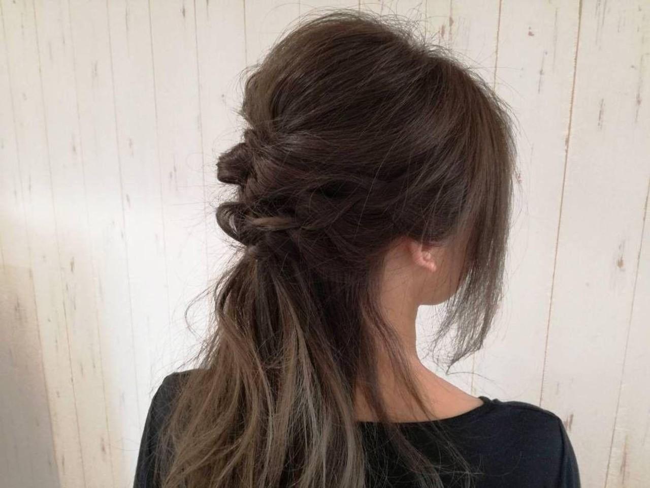 くるりんぱ 編み込み ロング 二次会 ヘアスタイルや髪型の写真・画像 | 西川 敏夫 / Any