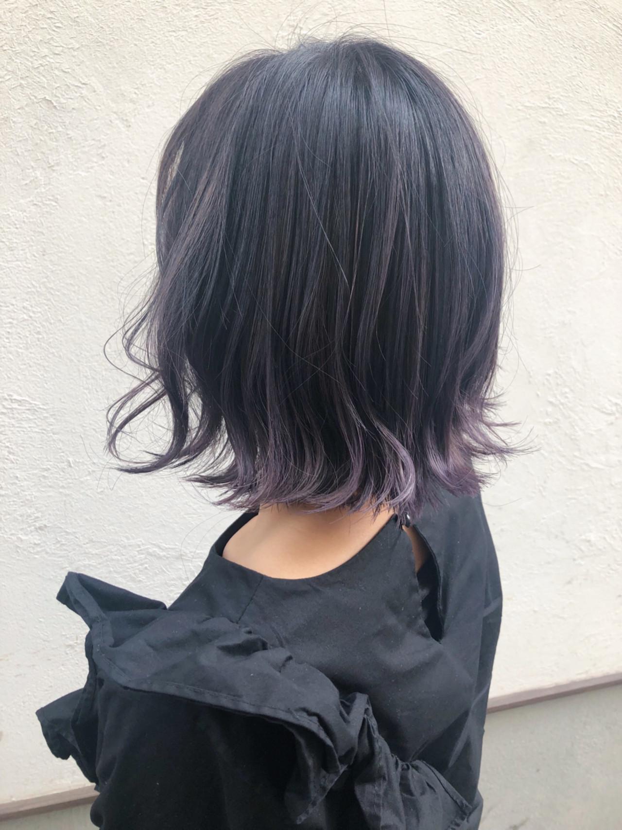 グラデーションカラー パープル 簡単ヘアアレンジ ボブ ヘアスタイルや髪型の写真・画像 | サカイアカネ / EMANON freelance