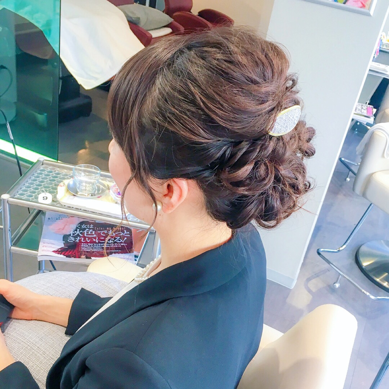 オフィス 上品 簡単ヘアアレンジ セミロング ヘアスタイルや髪型の写真・画像