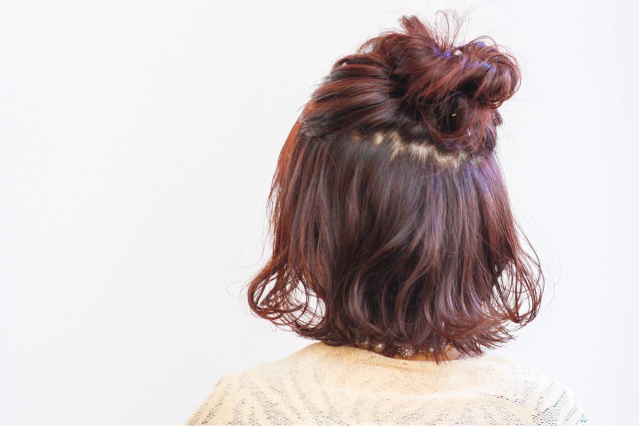ニュアンス ストリート ハーフアップ ピンク ヘアスタイルや髪型の写真・画像 | Hiroshi Kuroe 尼崎 / K'LipbyTAL'KE