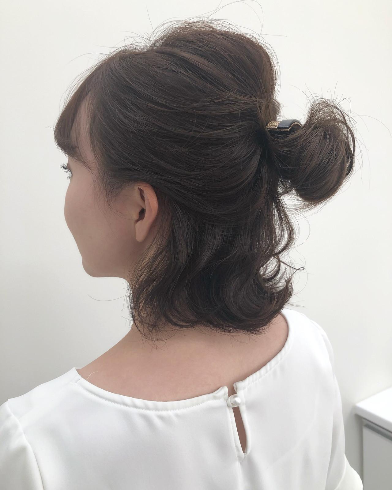 簡単ヘアアレンジ ヘアアレンジ ボブアレンジ ガーリー ヘアスタイルや髪型の写真・画像