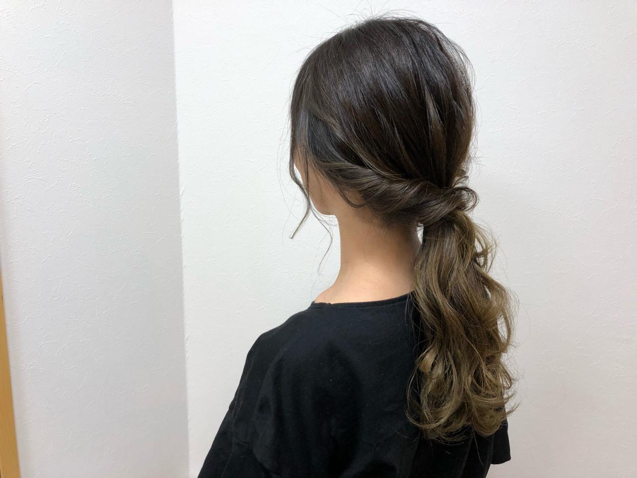 セミロング ヘアアレンジ イルミナカラー 結婚式 ヘアスタイルや髪型の写真・画像   宇渡 裕一 / Lillie hair&spa