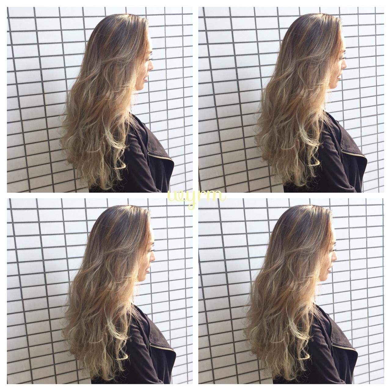 ウェーブ ロング ストリート グラデーションカラー ヘアスタイルや髪型の写真・画像