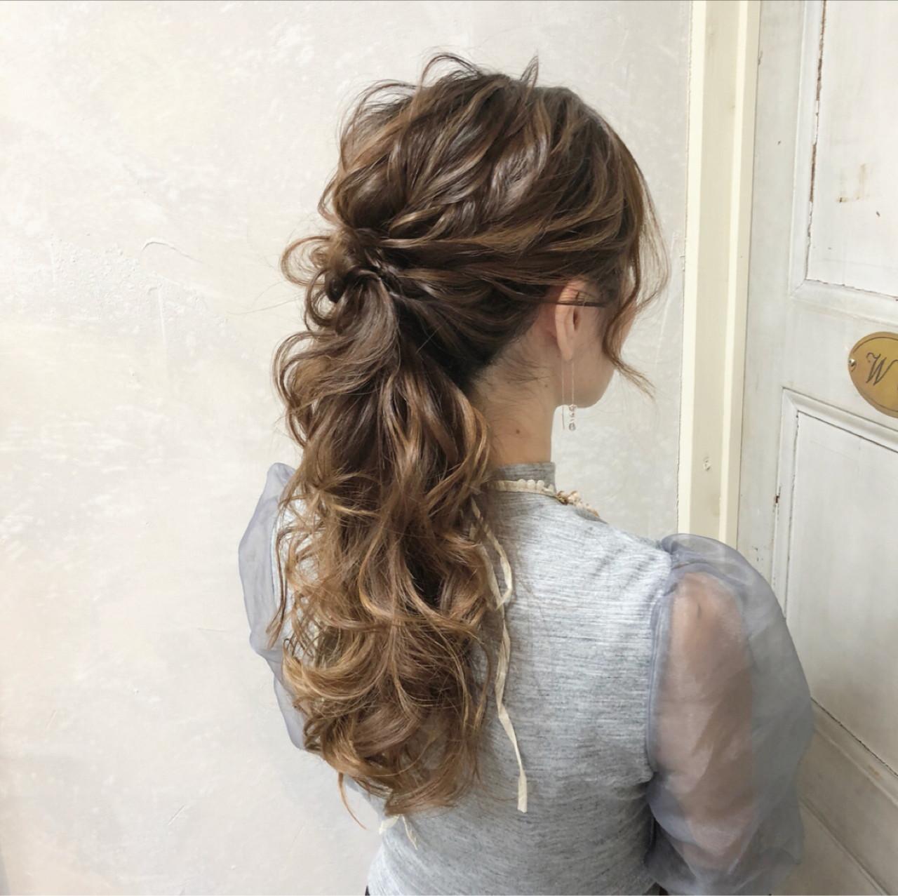 ロング 結婚式 ポニーテール 上品 ヘアスタイルや髪型の写真・画像