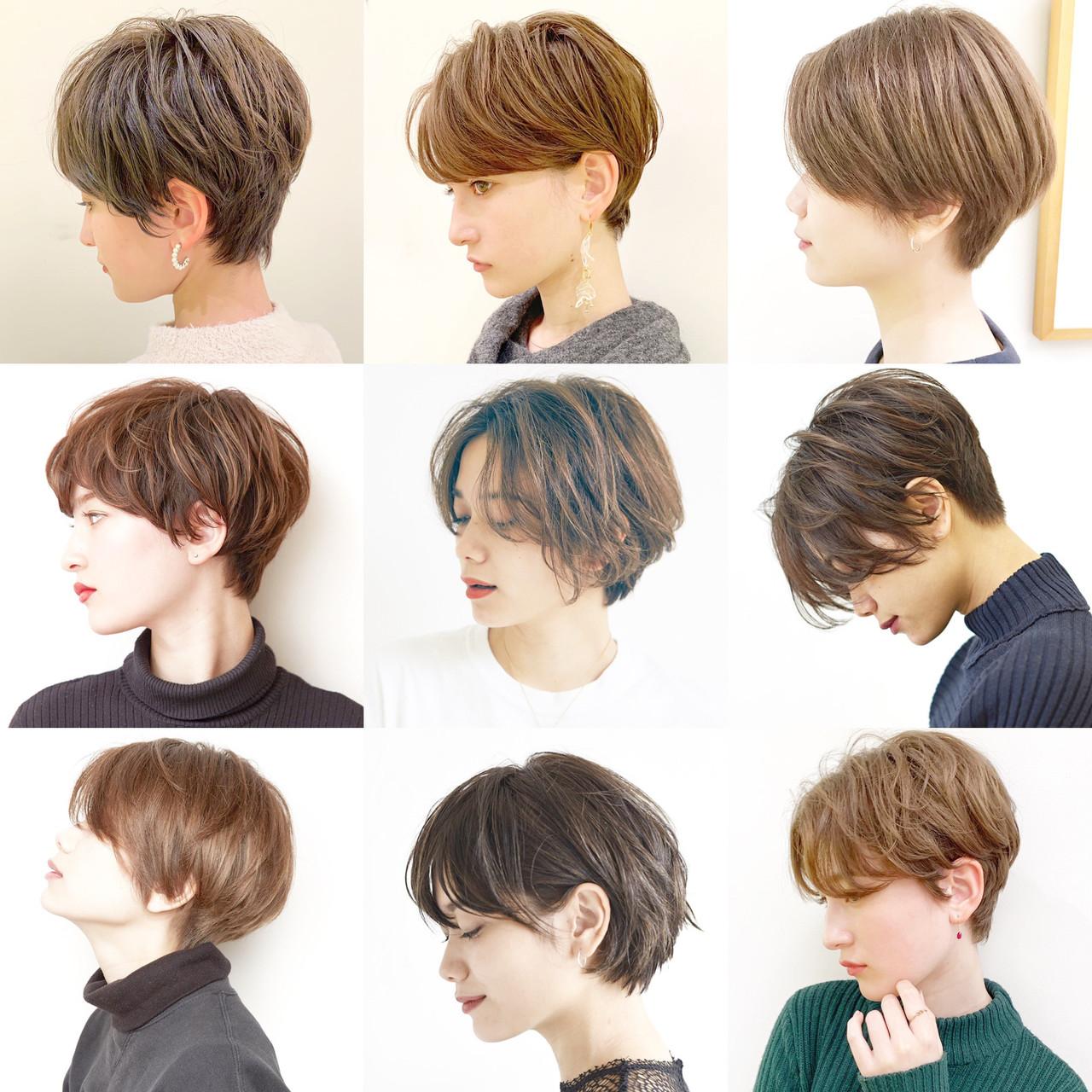デート オフィス ショート パーマ ヘアスタイルや髪型の写真・画像