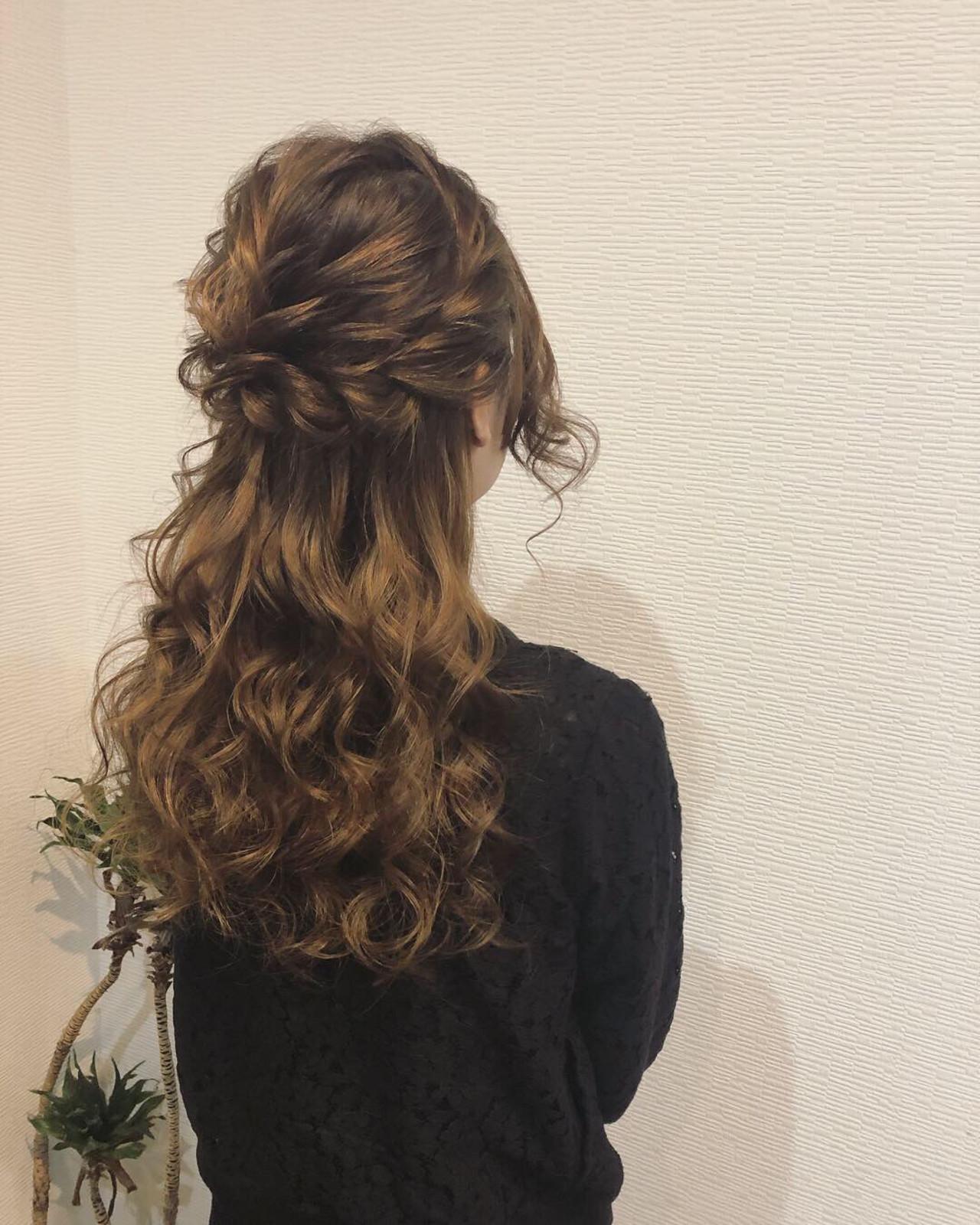 ロング 簡単ヘアアレンジ ハーフアップ ヘアアレンジ ヘアスタイルや髪型の写真・画像 | mai / HAIR SALON STELLA