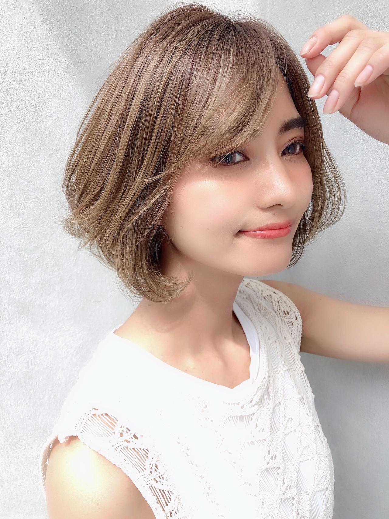 パーマ ナチュラル ボブ デート ヘアスタイルや髪型の写真・画像 | 北村 亮 / Lano by HAIR
