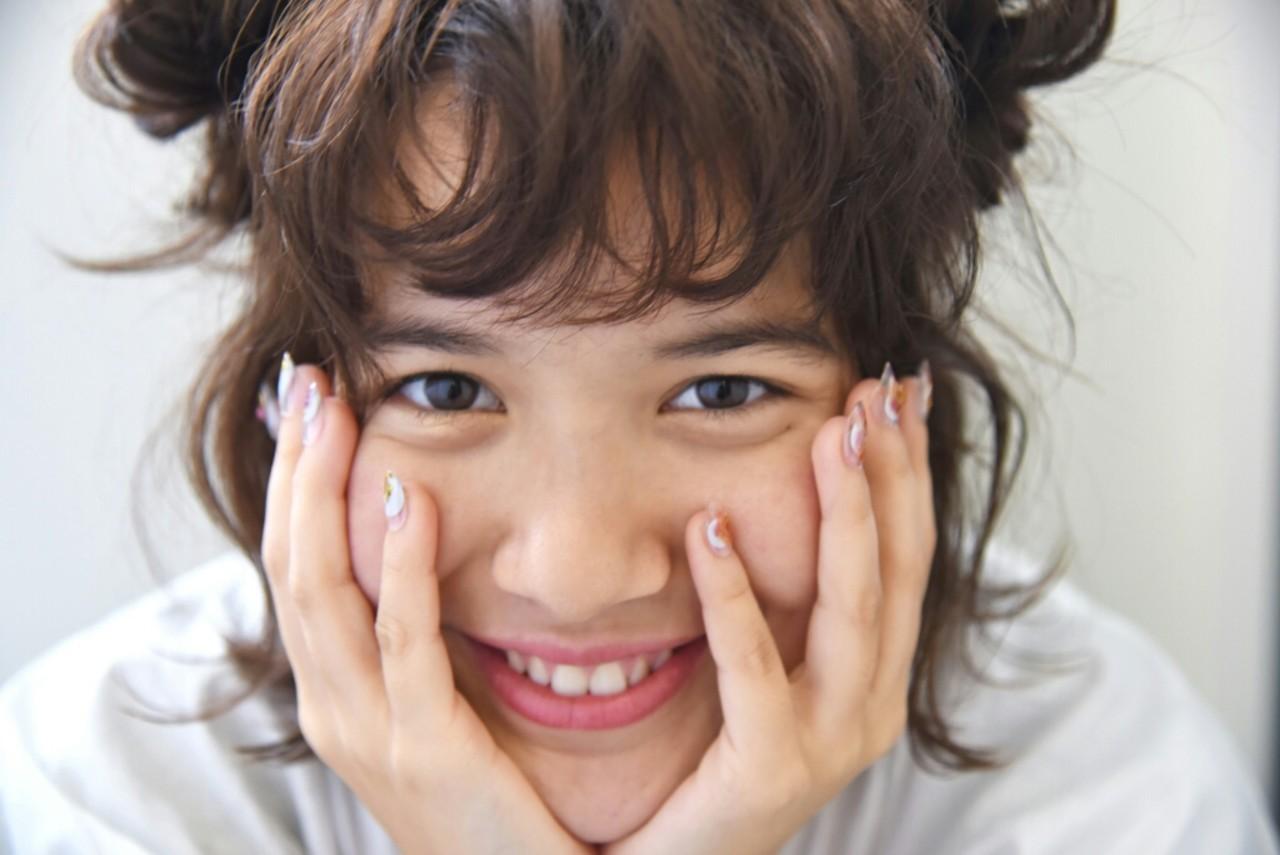 ヘアアレンジ パーマ ハーフアップ 外国人風 ヘアスタイルや髪型の写真・画像