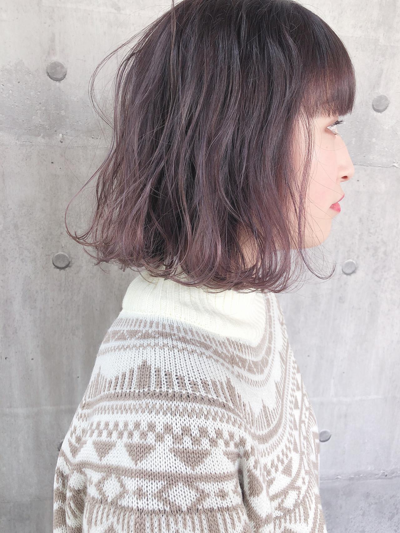 外ハネボブ ラベンダーピンク ボブ ピンクラベンダー ヘアスタイルや髪型の写真・画像