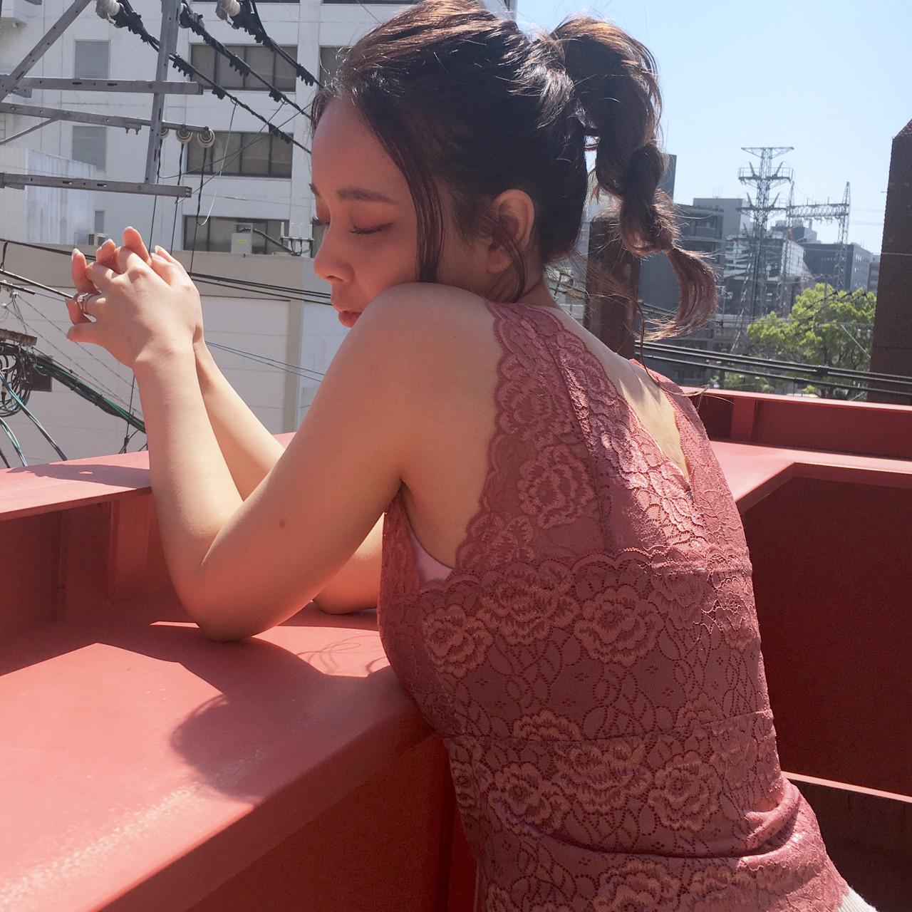 ガーリー ミディアム 抜け感 簡単ヘアアレンジ ヘアスタイルや髪型の写真・画像 | 上川美幸 / carlm