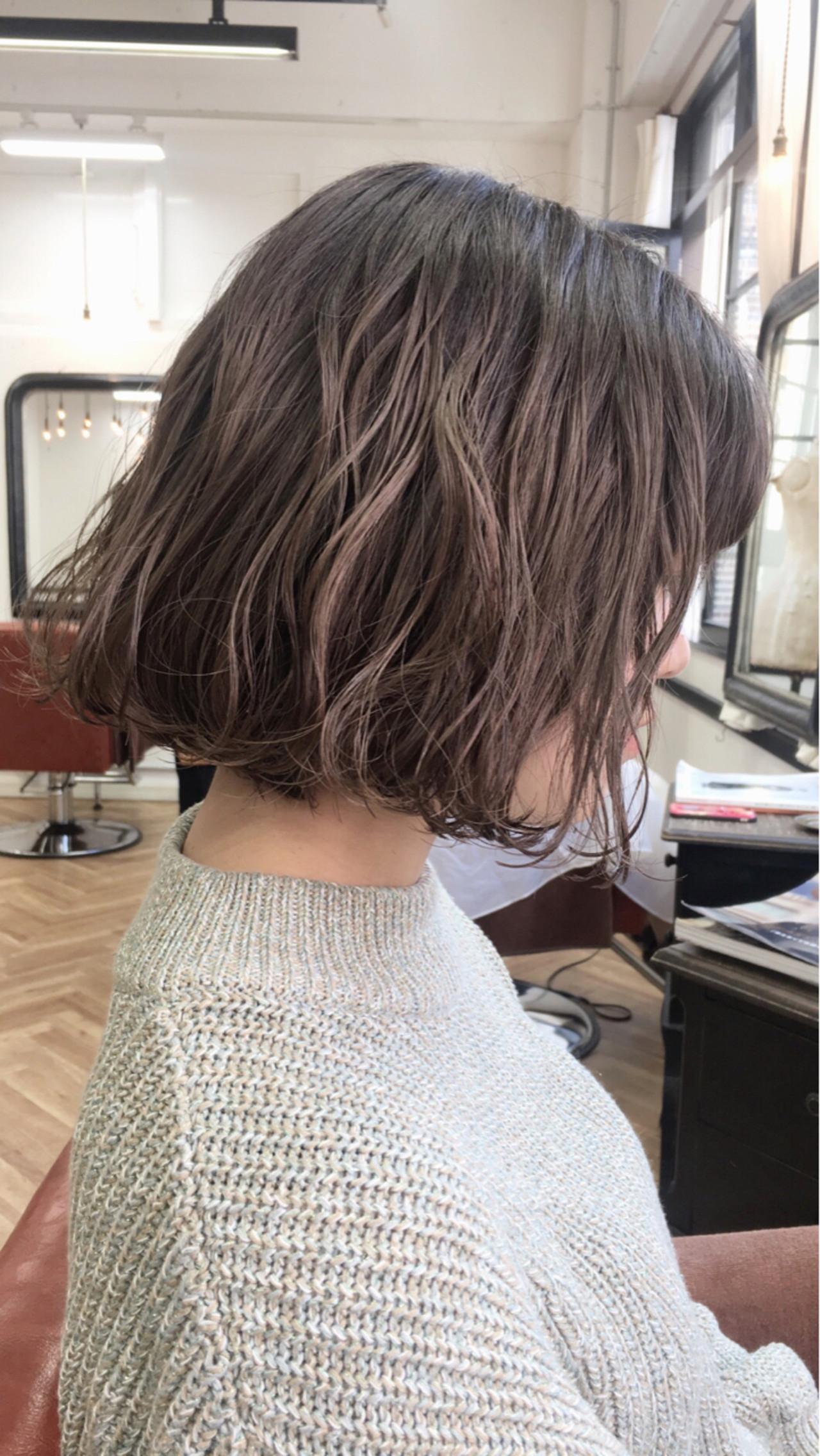 ボブ ナチュラル 冬 外国人風 ヘアスタイルや髪型の写真・画像   上田智久 / ooit 福岡 天神 / ooit