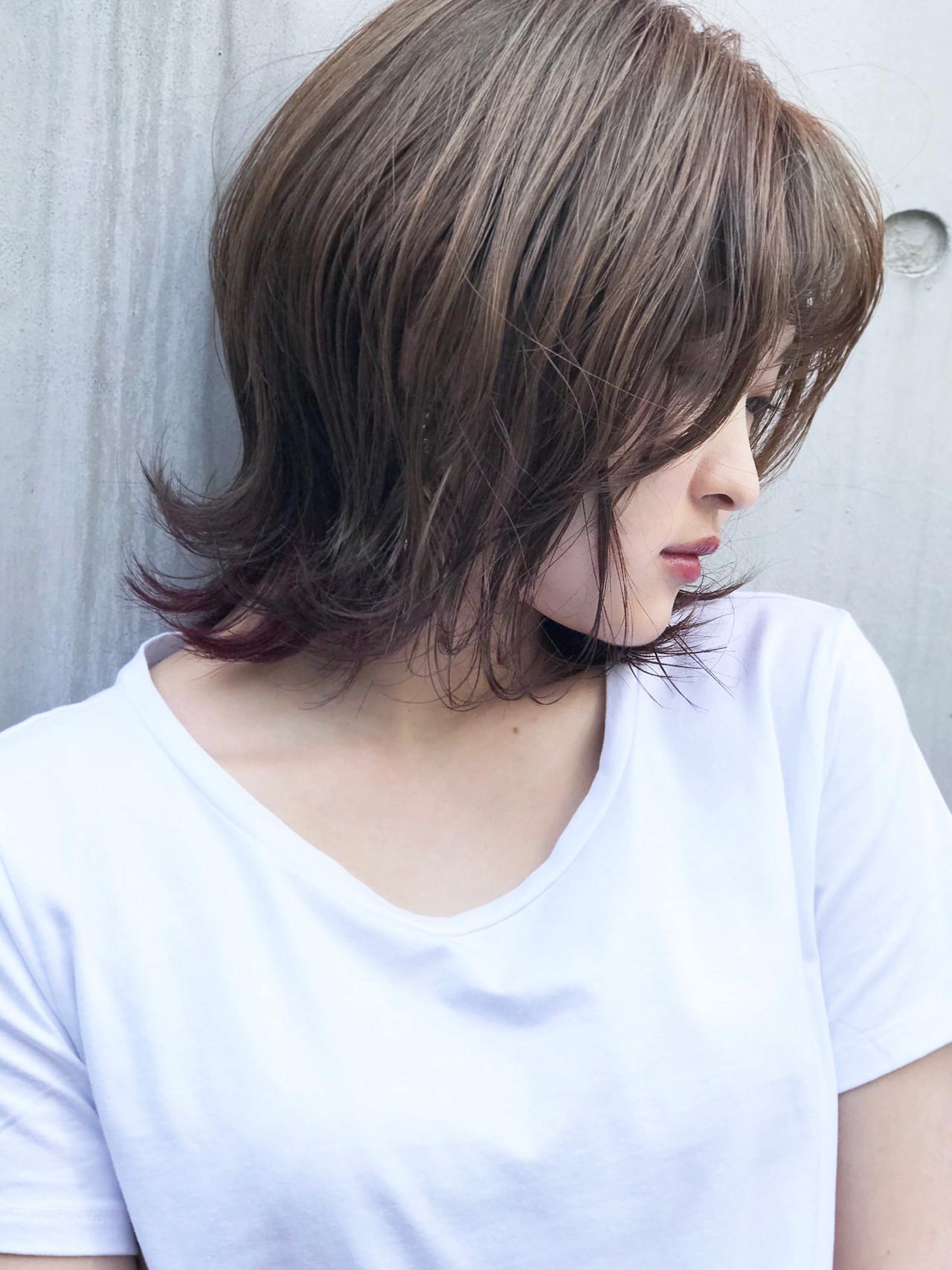 インナーカラーパープル インナーカラー スポーツ ストリート ヘアスタイルや髪型の写真・画像