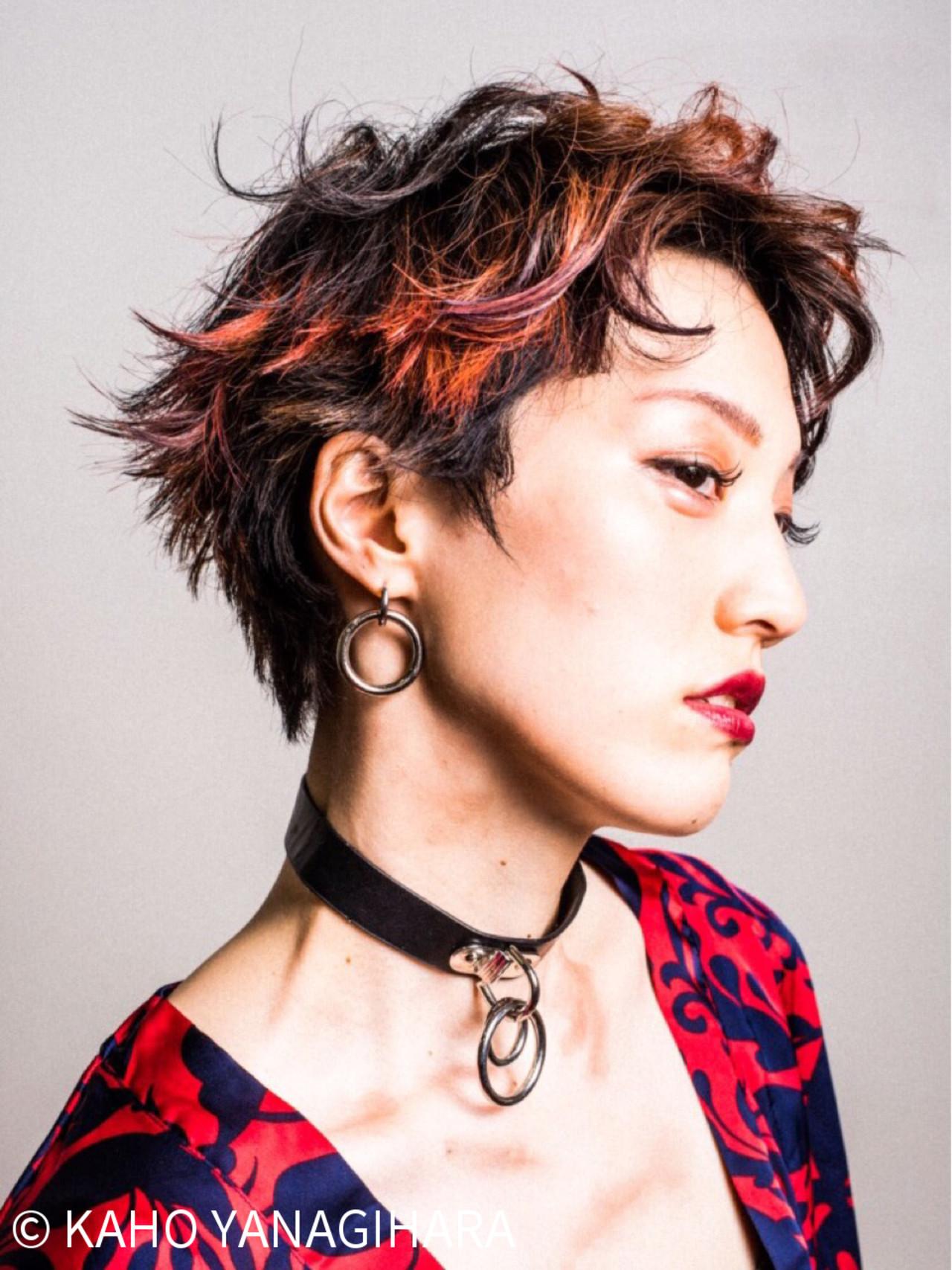 ショート レッド パーマ モード ヘアスタイルや髪型の写真・画像 | KAHO YANAGIHARA /