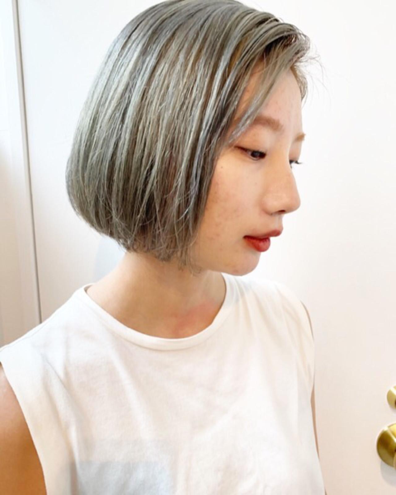 ミルクティーアッシュ ボブ ストリート ミルクティーベージュ ヘアスタイルや髪型の写真・画像