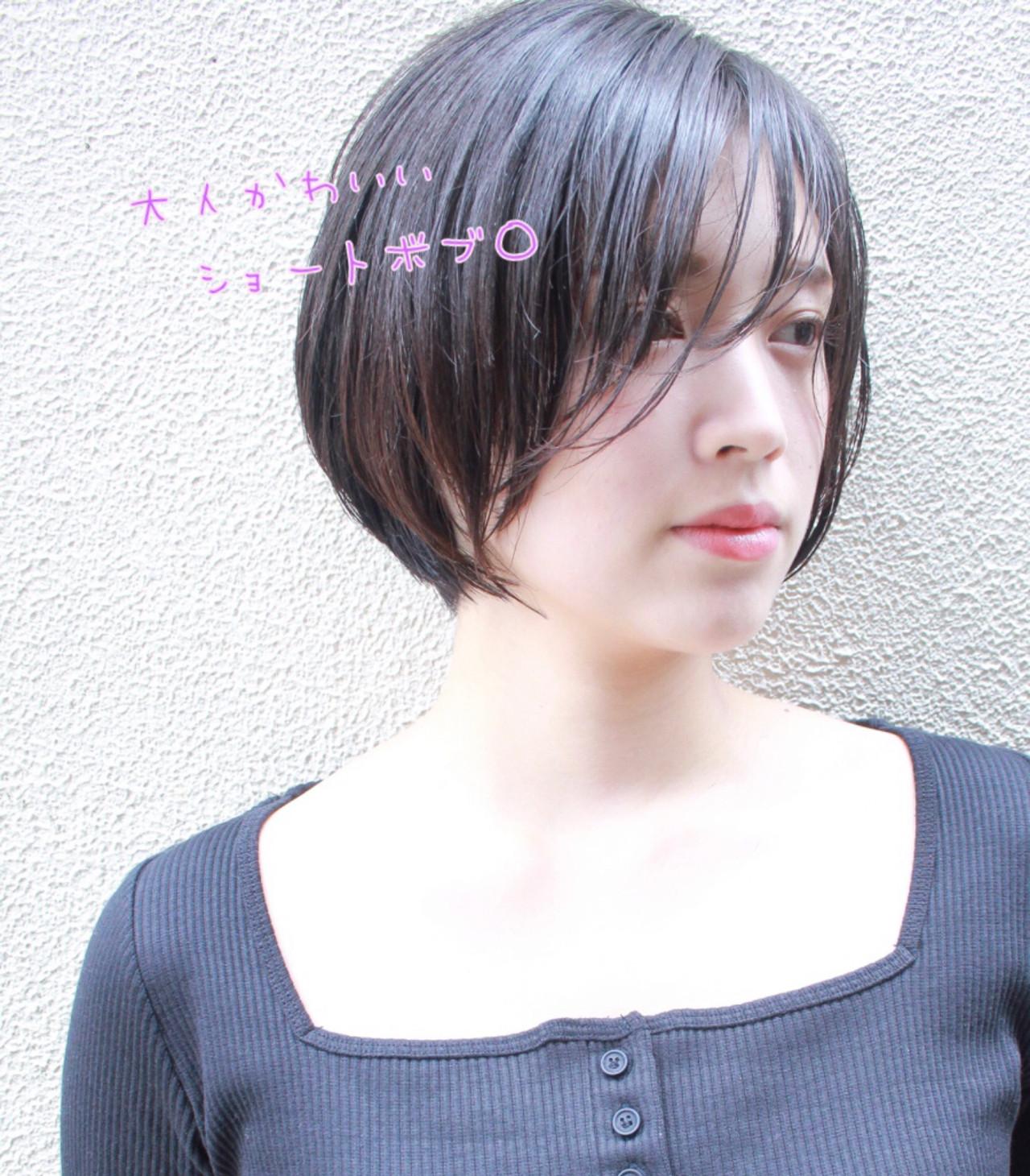 小顔ショート ナチュラル ショート ショートボブ ヘアスタイルや髪型の写真・画像