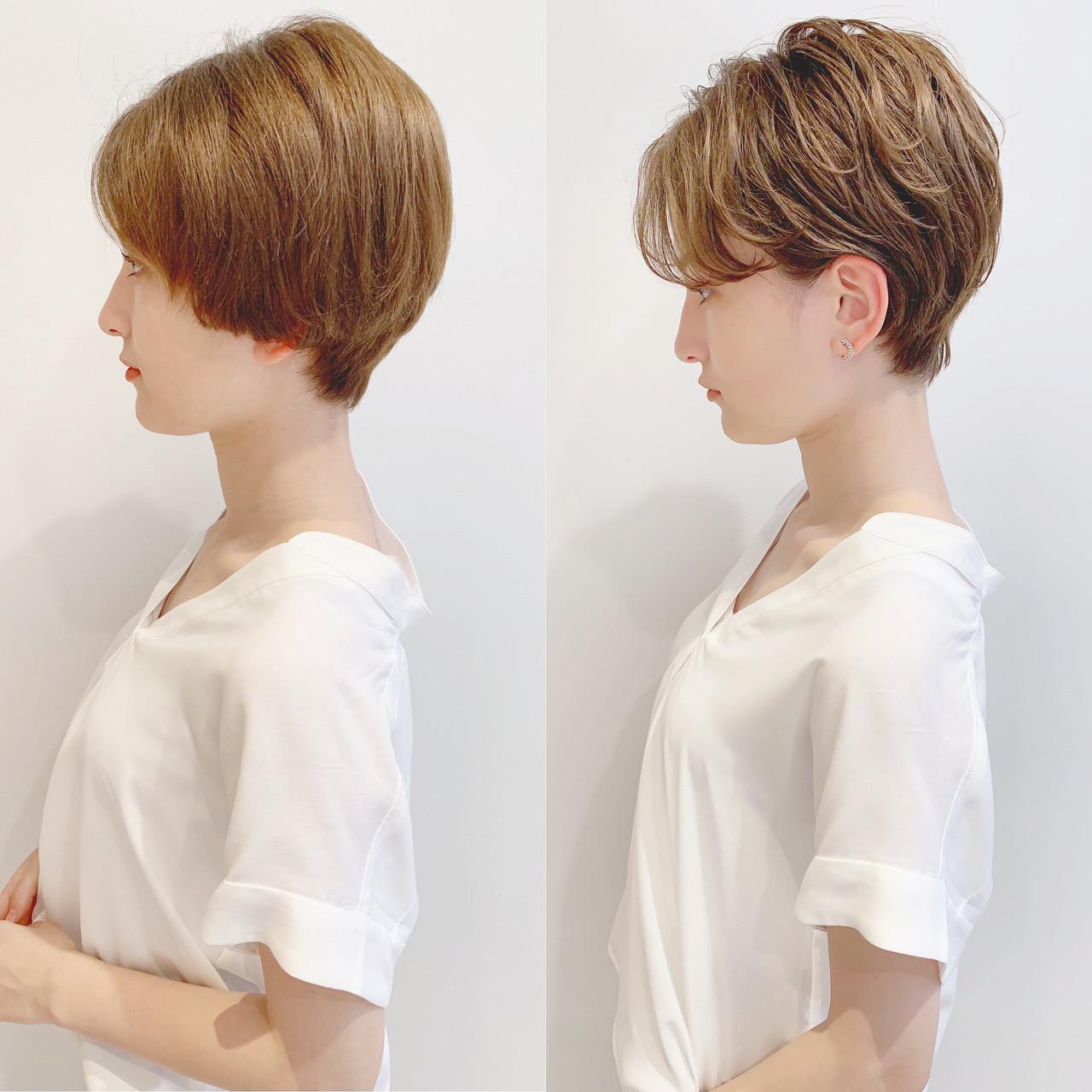 フェミニン アウトドア パーマ ショート ヘアスタイルや髪型の写真・画像