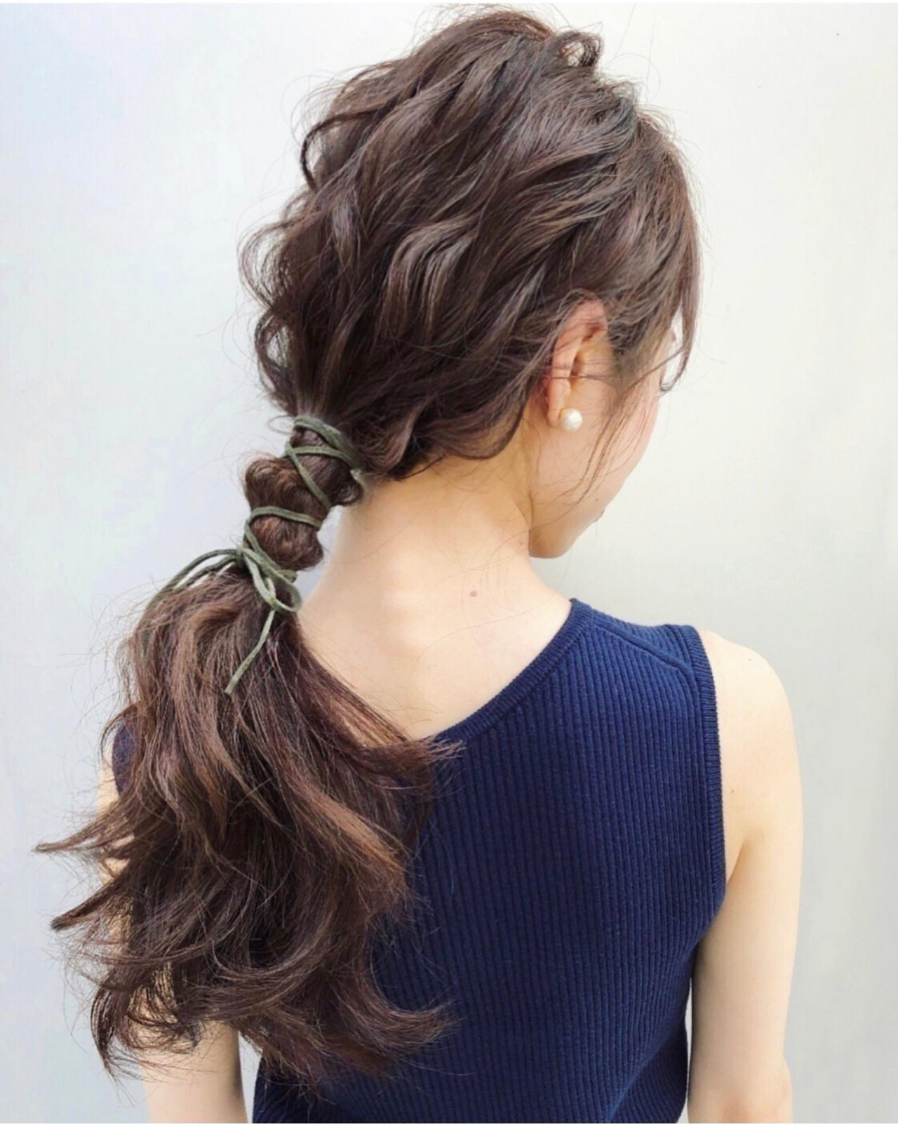 アンニュイほつれヘア セミロング ゆるナチュラル 簡単ヘアアレンジ ヘアスタイルや髪型の写真・画像